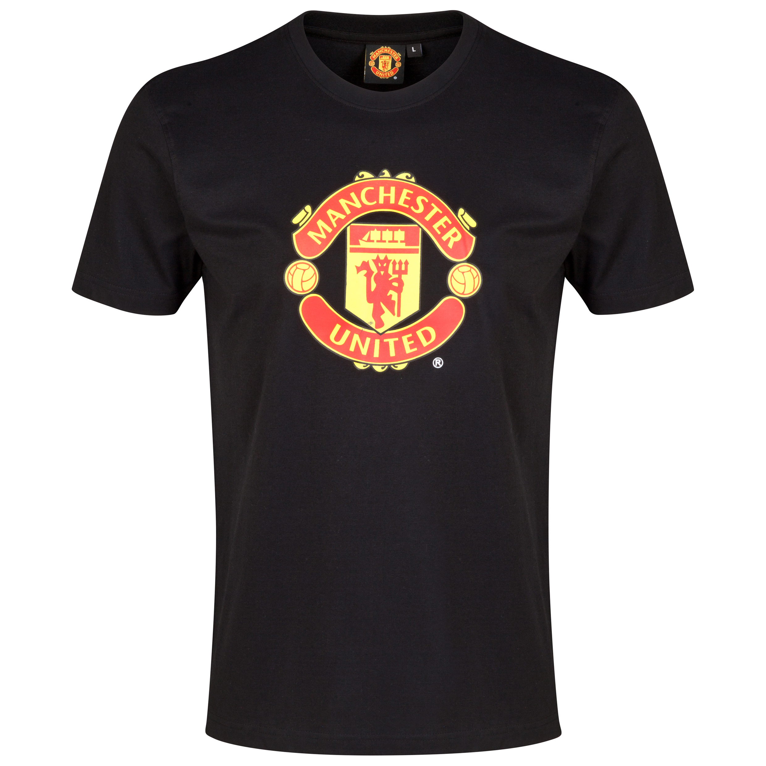 Manchester United Crest T-Shirt - Black - Mens