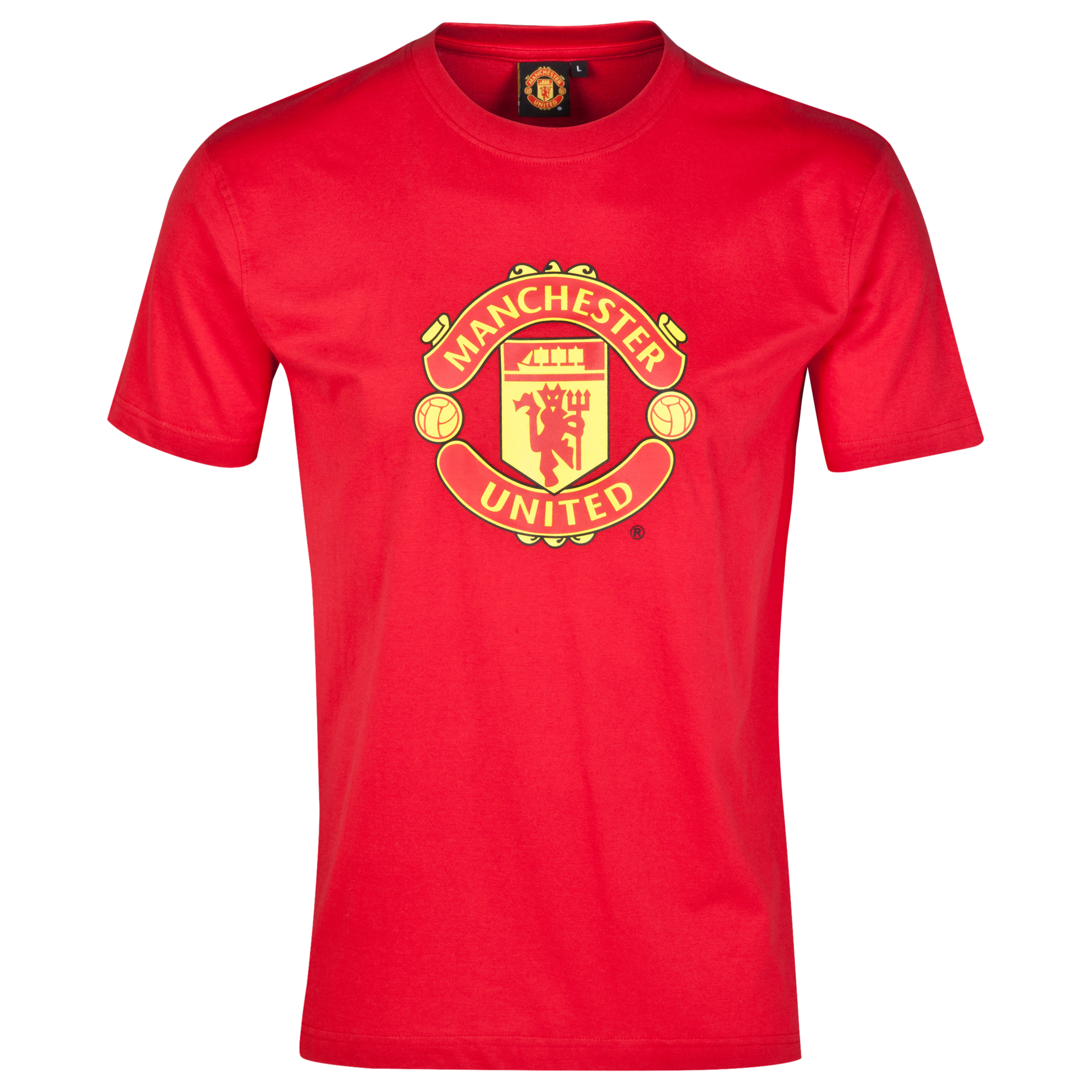 Manchester United Crest T-Shirt - Red - Mens