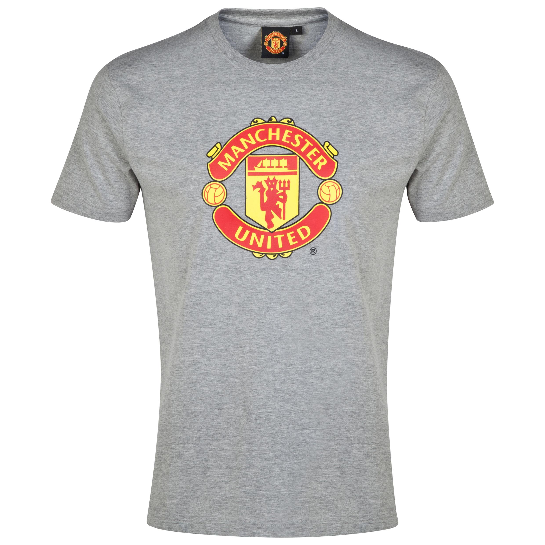 Manchester United Crest T-Shirt - Grey Marl - Mens