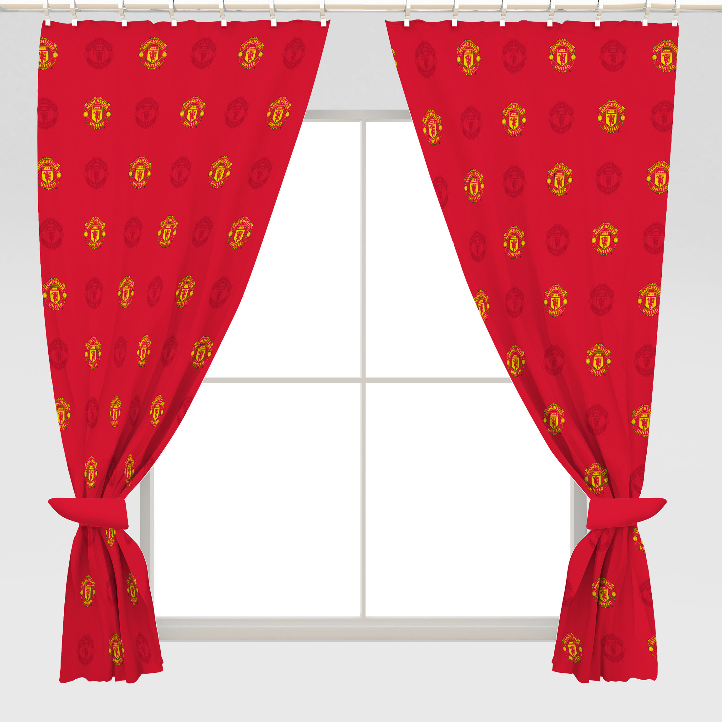 Manchester United Repeat Crest Curtains - 54inch Drop
