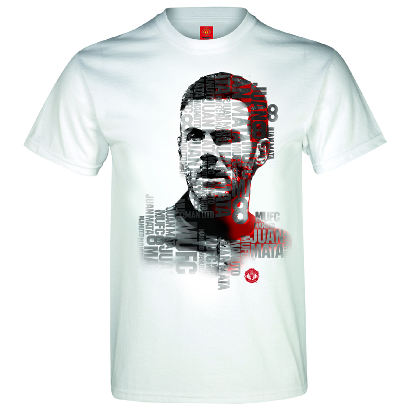 Manchester United Mata Text T-Shirt - White - Mens