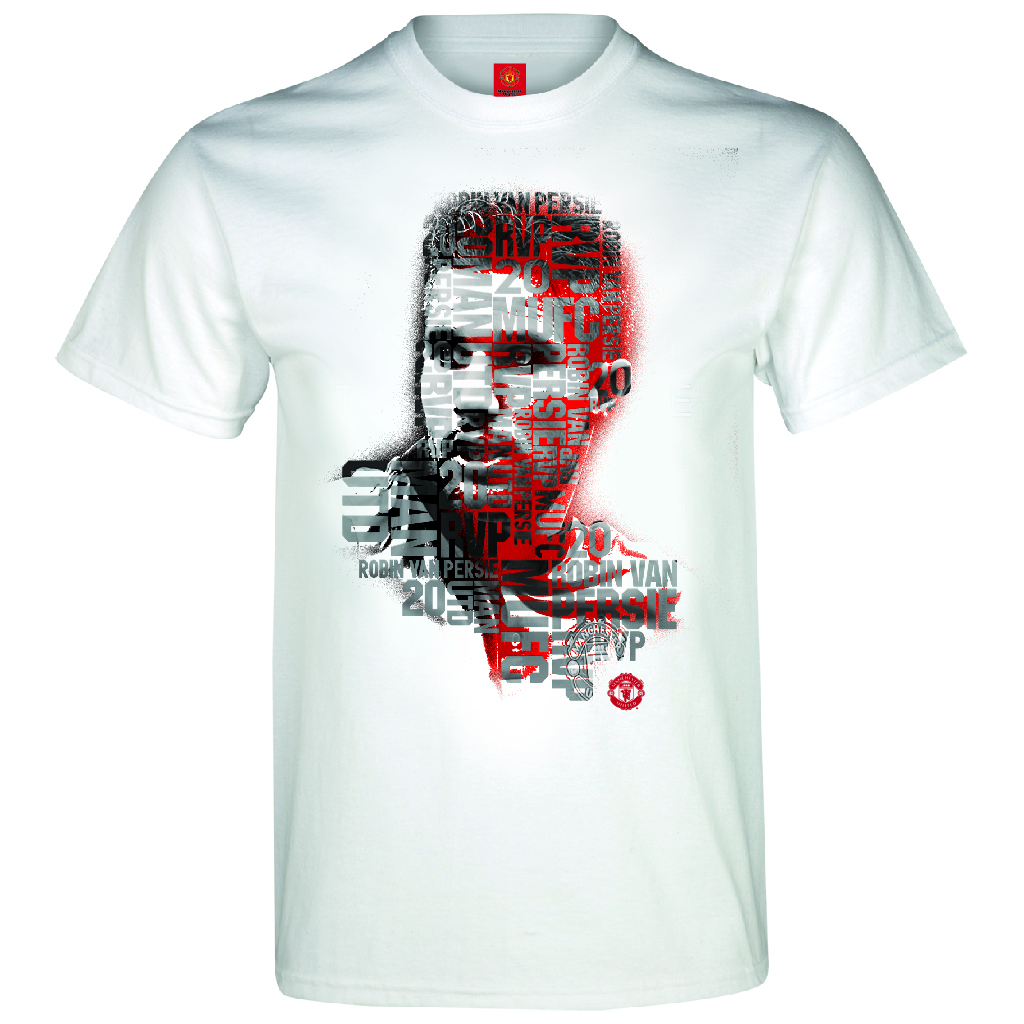 Manchester United Van Persie Text T-Shirt - White - Mens