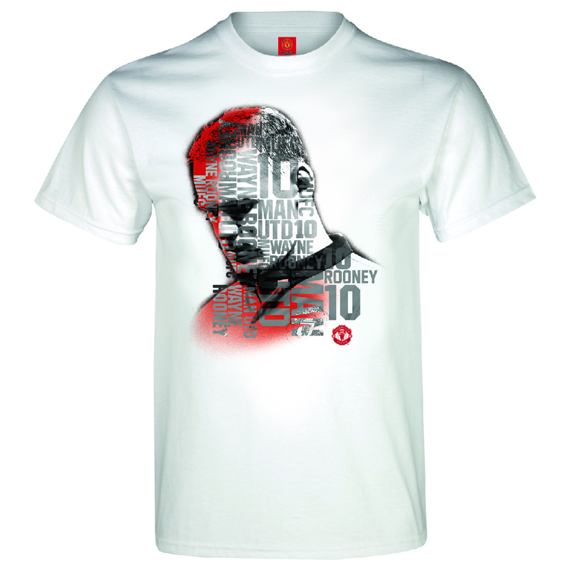 Manchester United Rooney Text T-Shirt - White - Boys