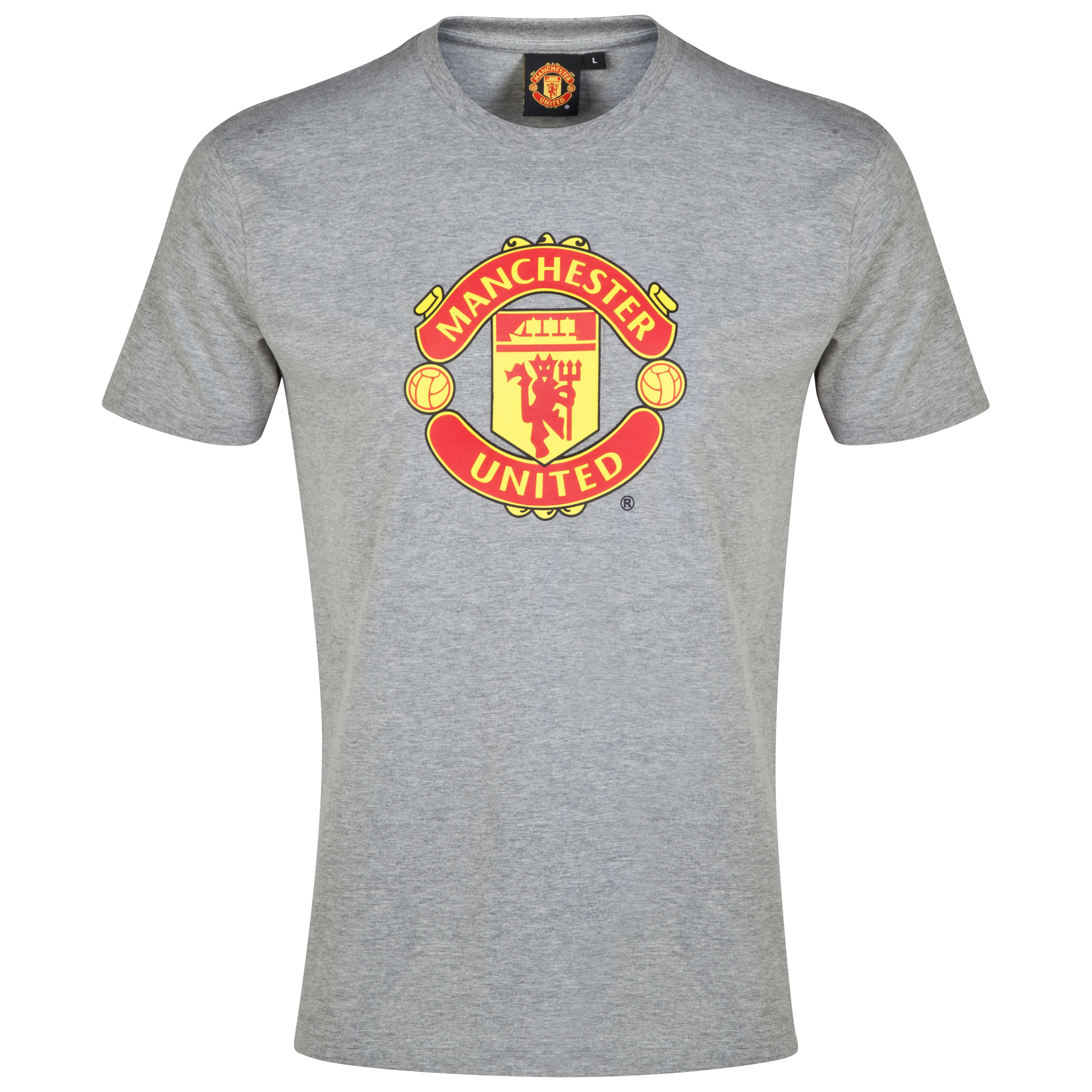 Manchester United Crest T-Shirt - Grey Marl - Boys