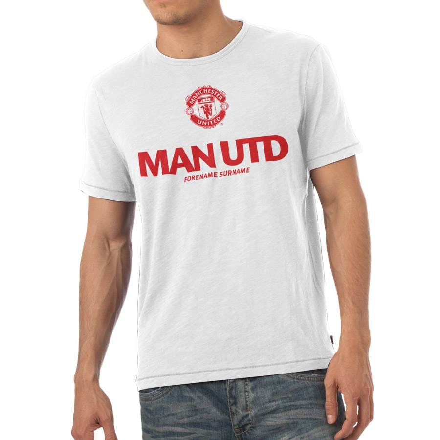 Manchester United Personalised Man Utd T-Shirt White
