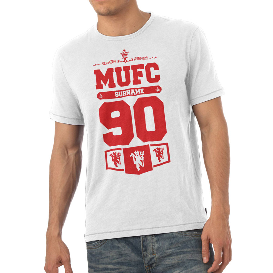 Manchester United Personalised Club T-shirt White