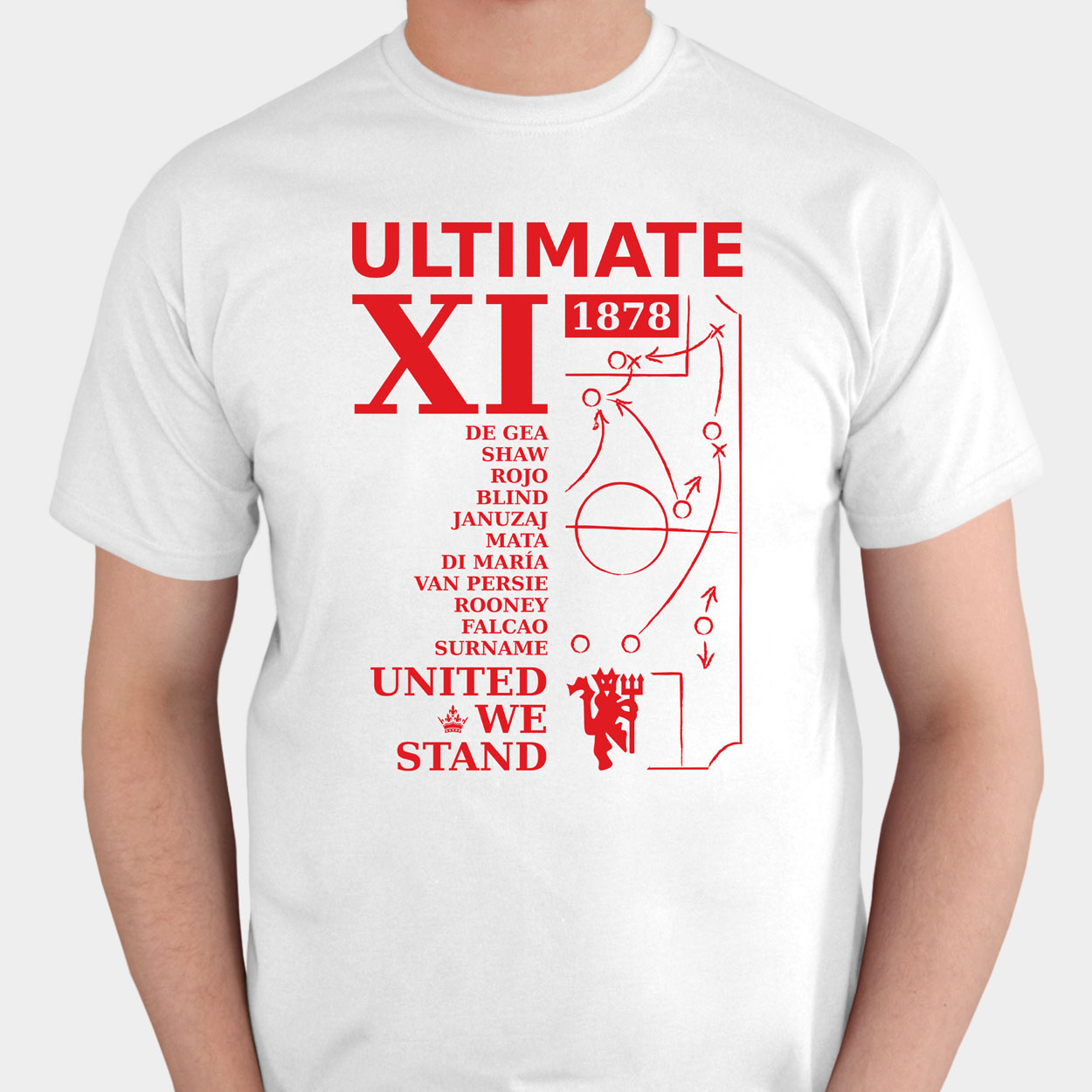 Manchester United Personalised Ultimate XI T-shirt White