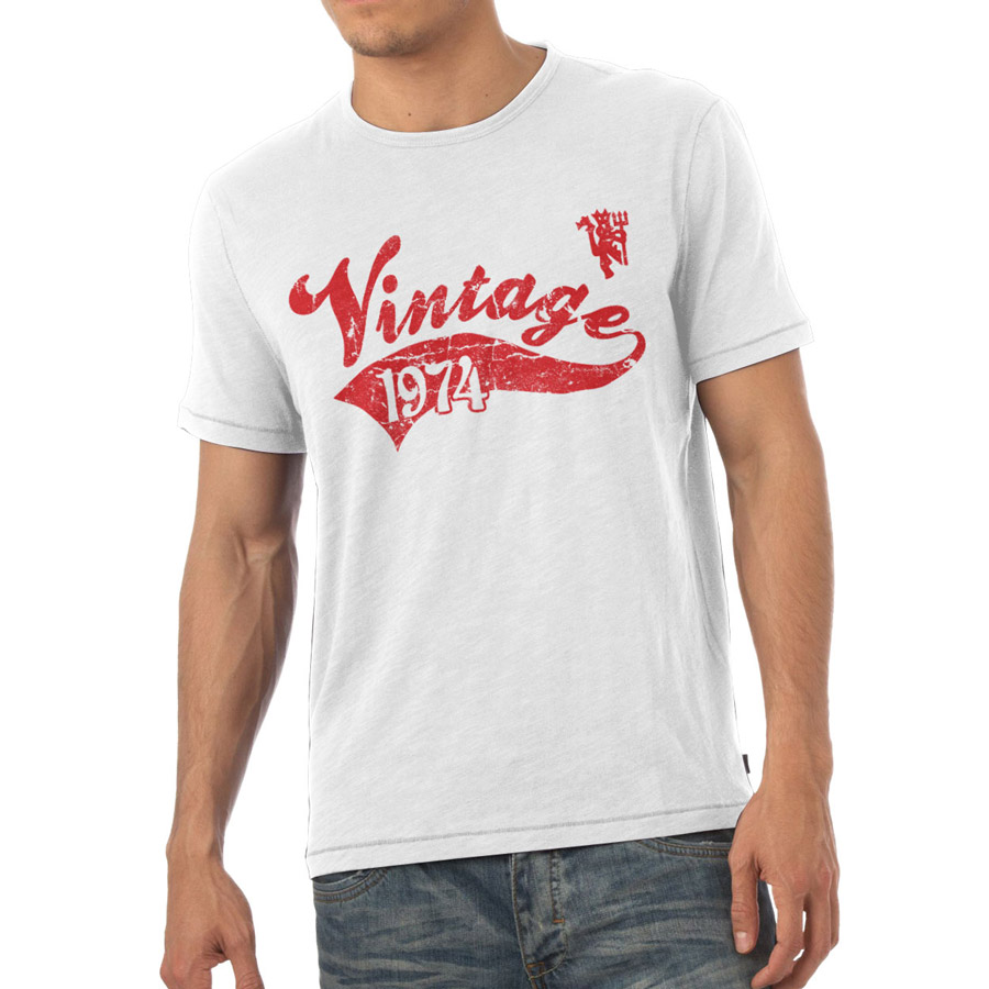 Manchester United Personalised Vintage T-shirt White
