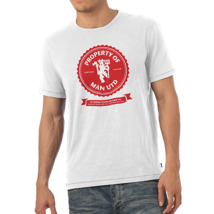 Manchester United Personalised Property of Manchester United T-shirt White