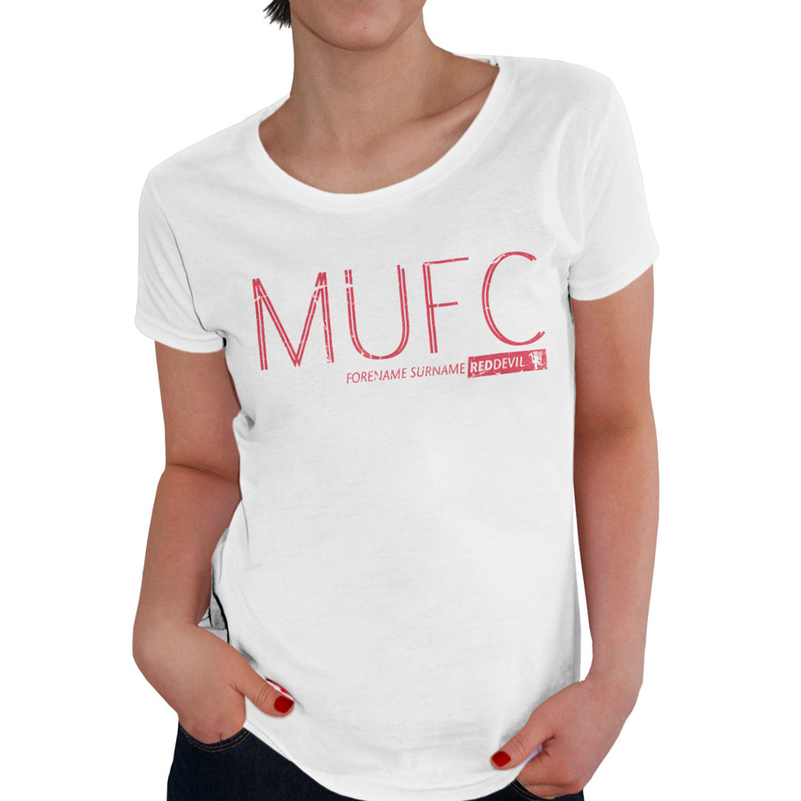 Manchester United Personalised Club T-shirt - Womens White