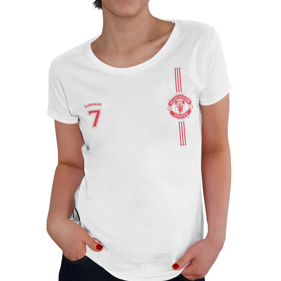 Manchester United Personalised Sports T-shirt - Womens White