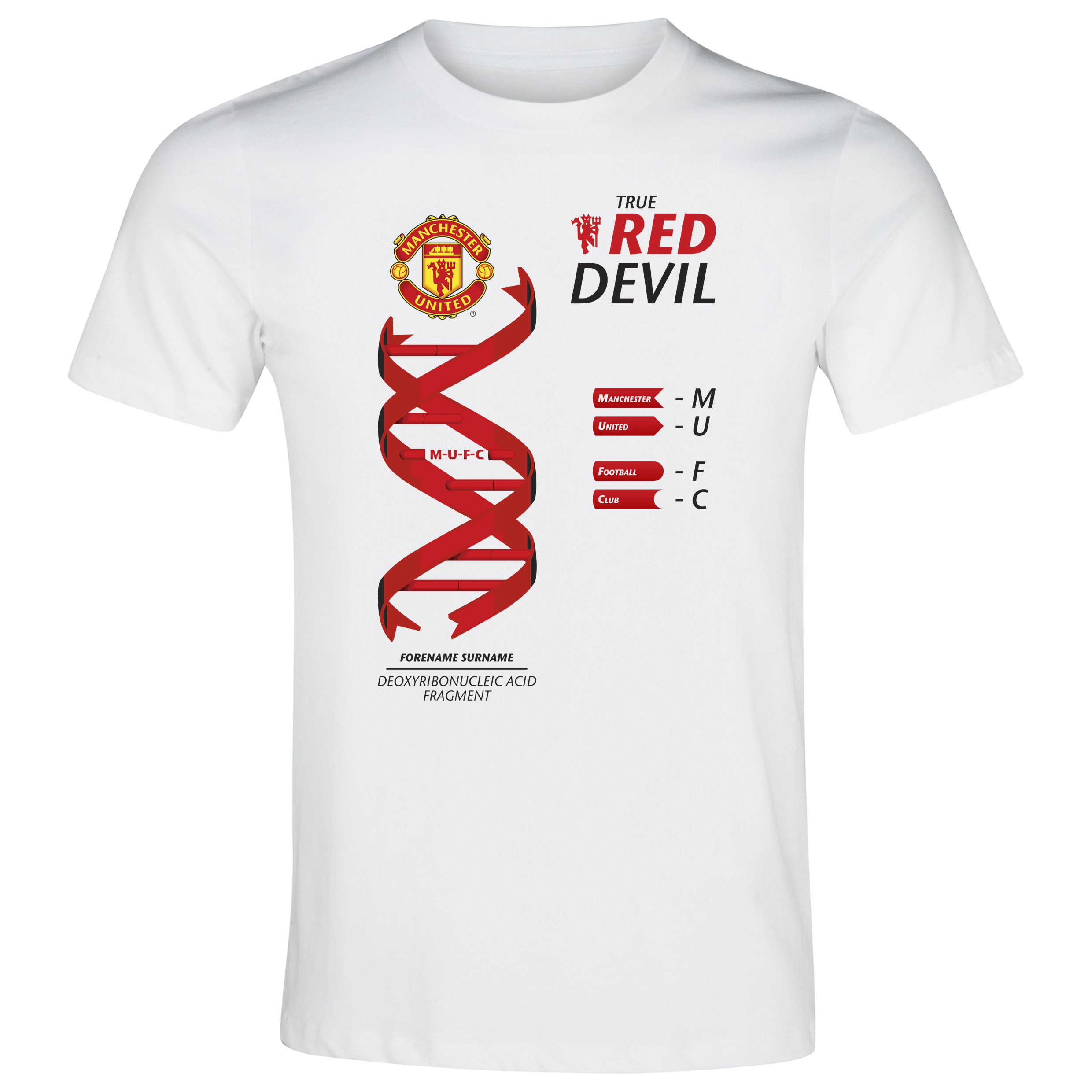 Manchester United Personalised True Red Devil T-shirt White