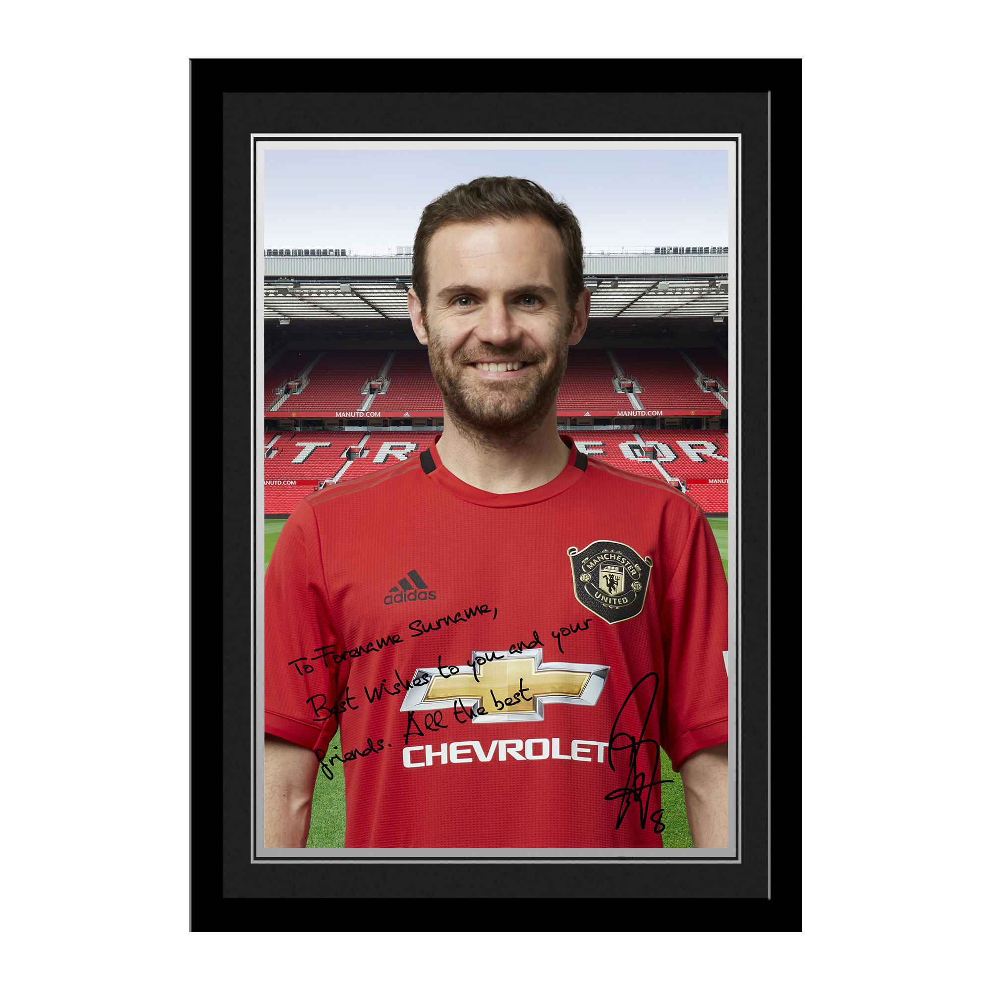 Manchester United Personalised Signature Photo Framed - Mata