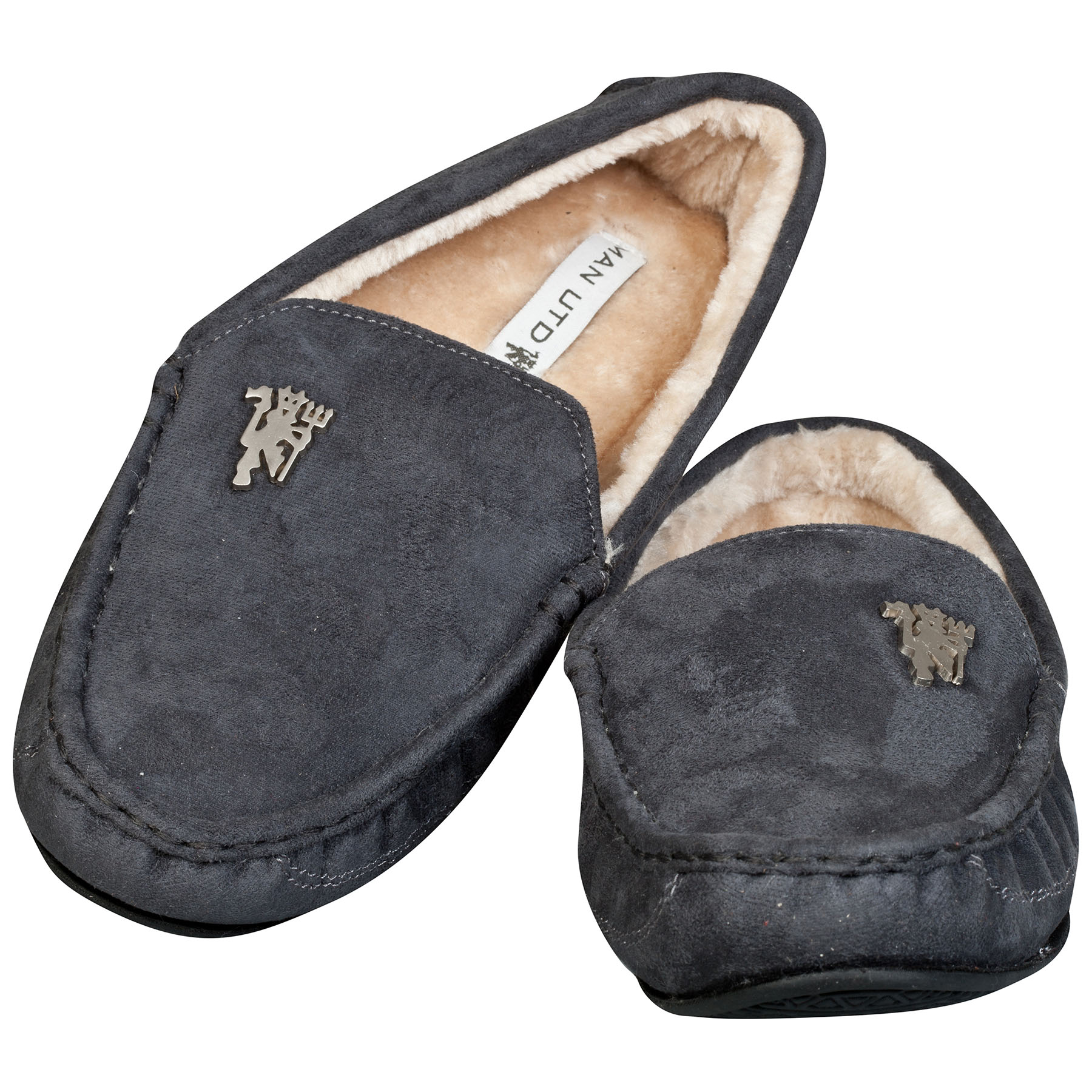 Manchester United Moccasin Slippers - Charcoal - Mens