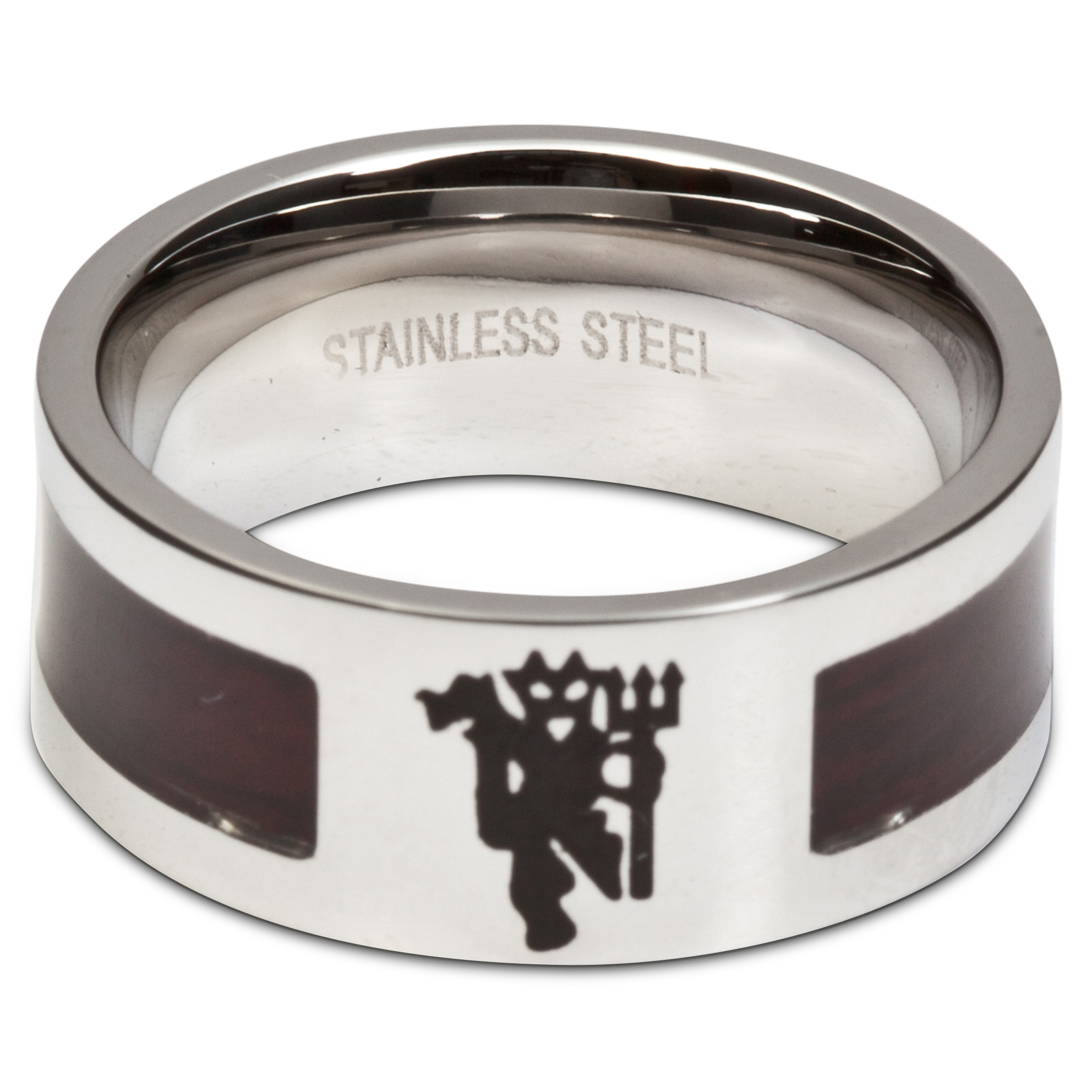 Manchester United Devil Ring with Wooden Look Centre - Stainless Steel