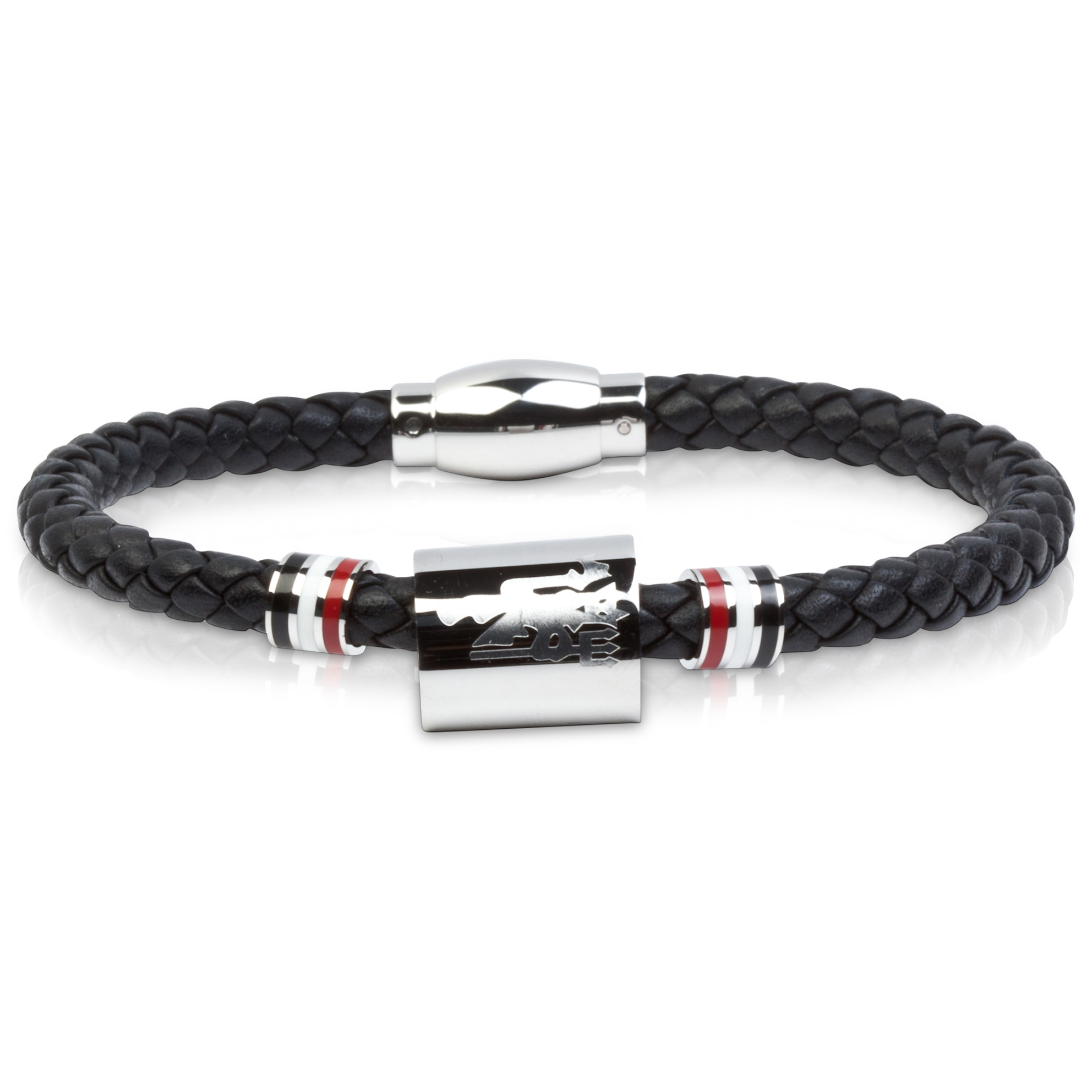Manchester United Black Leather Devil Bracelet - Stainless Steel