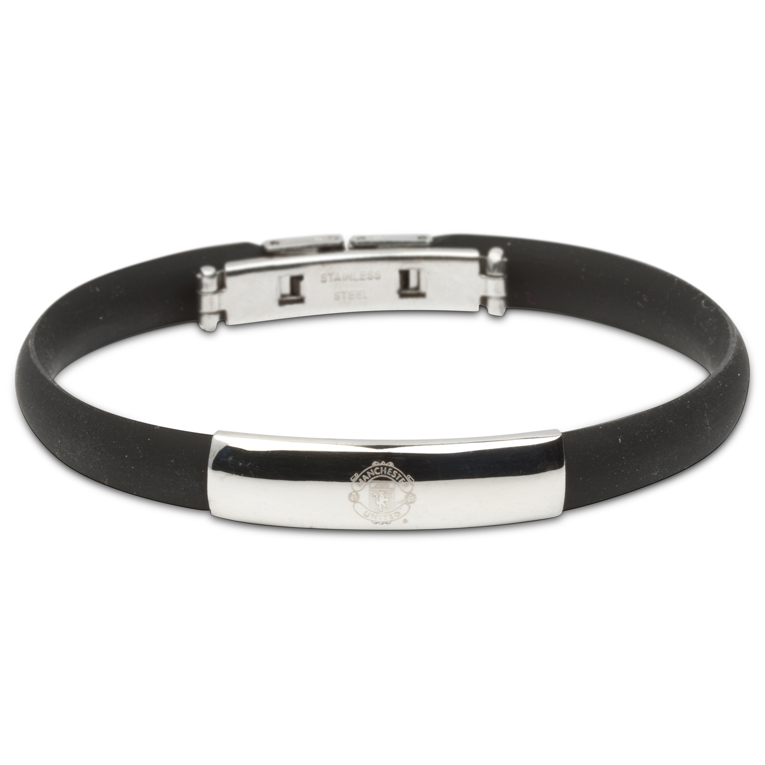 Manchester United Rubber Band Crest Bracelet - Black - Stainless Steel