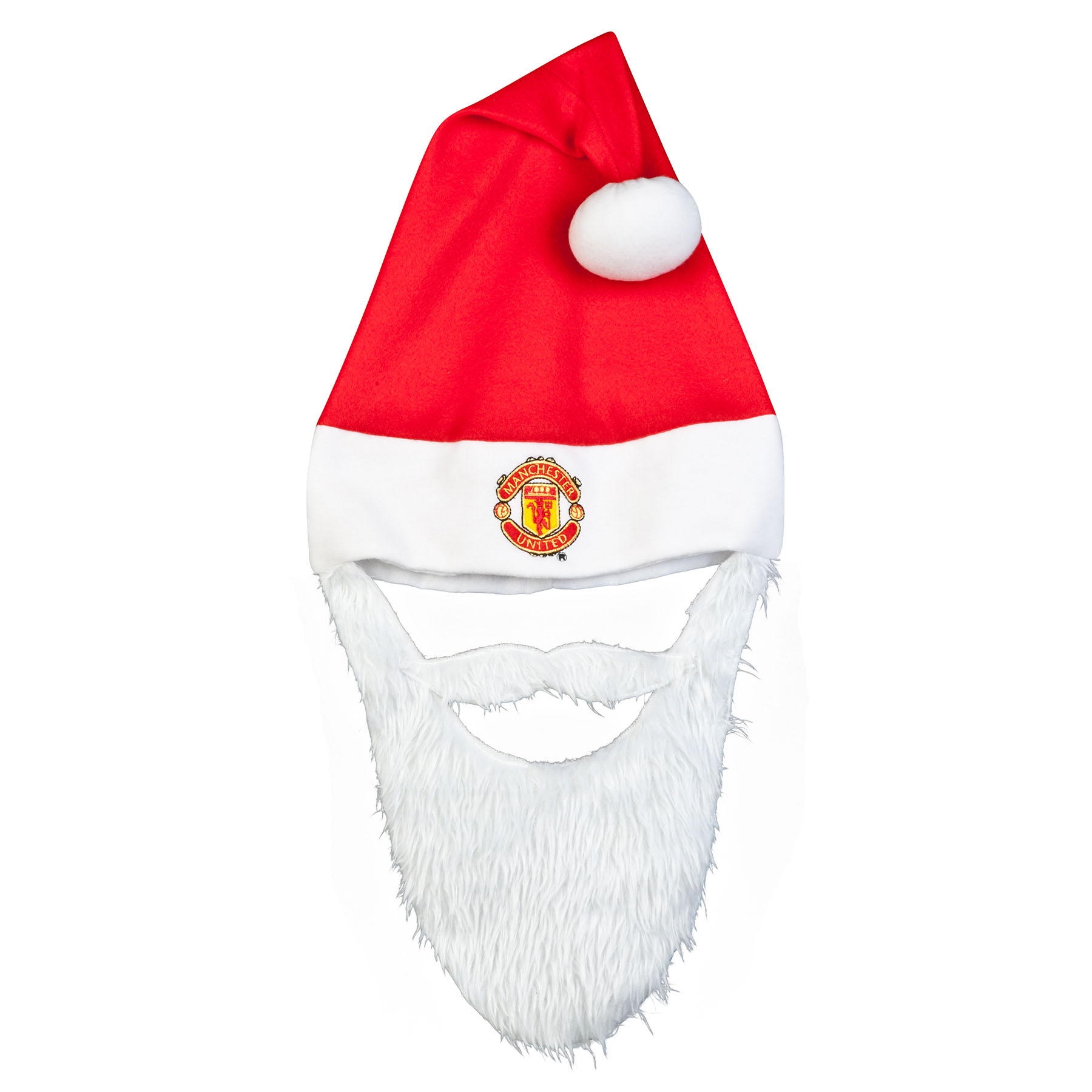 Manchester United Christmas Santa Hat with Beard