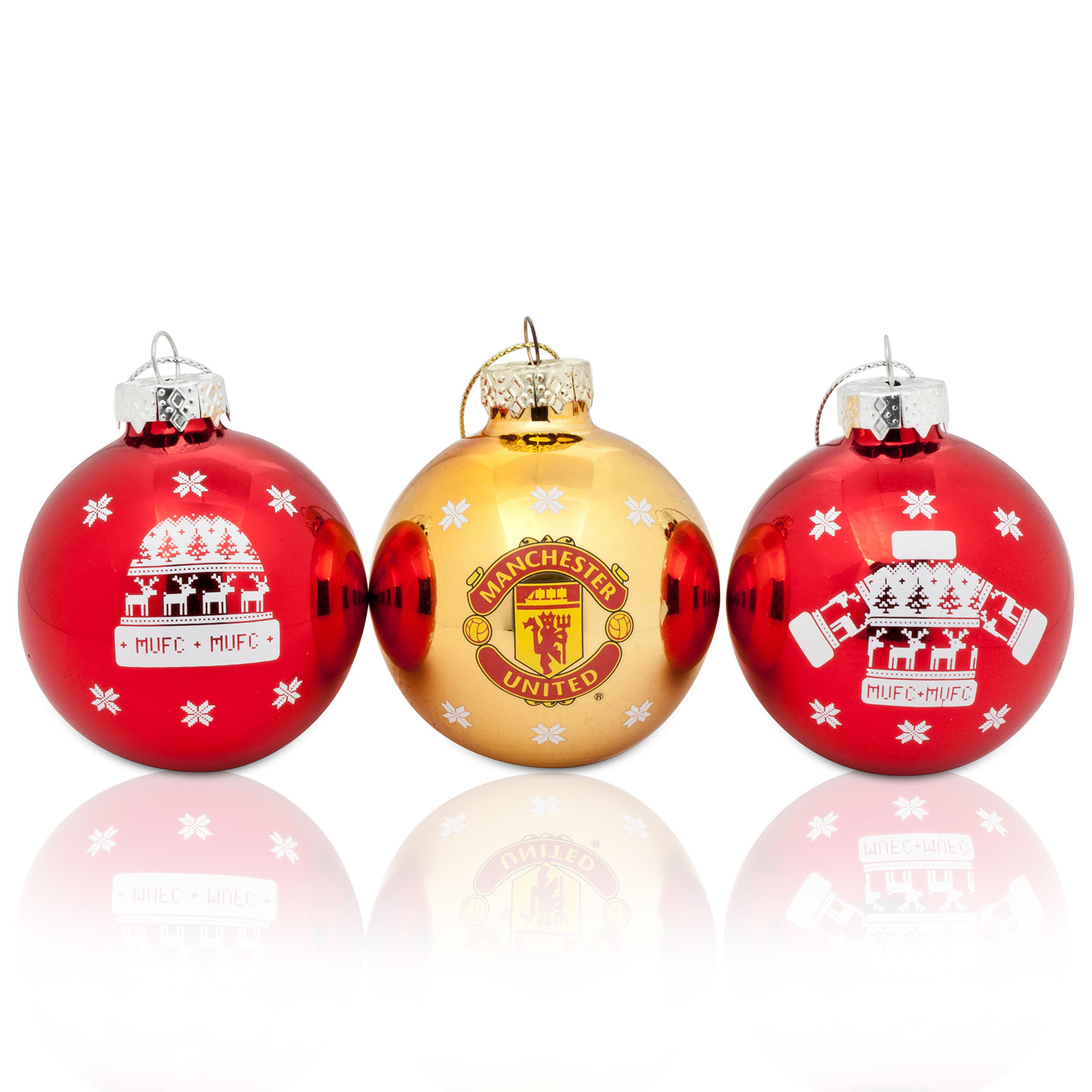 Manchester United Christmas Nordic 60mm Baubles - 3 Pack