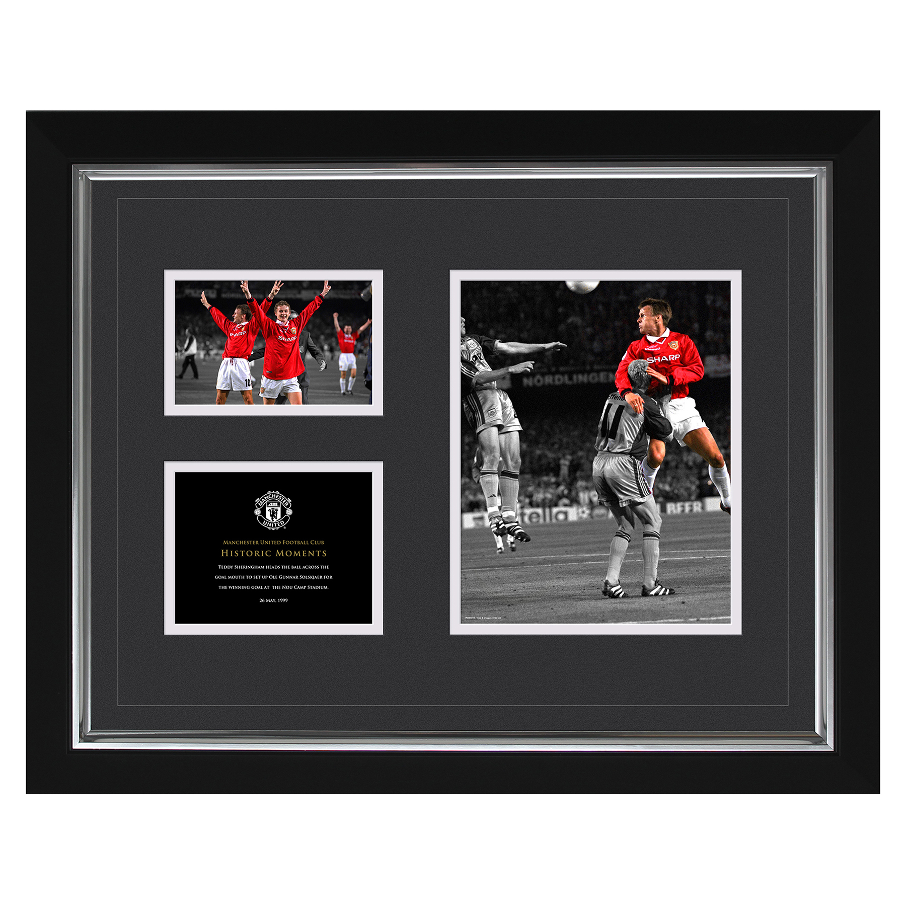 Manchester United Historic Moments - Sheringham 1999 Framed Print - 20 x 16 Inch