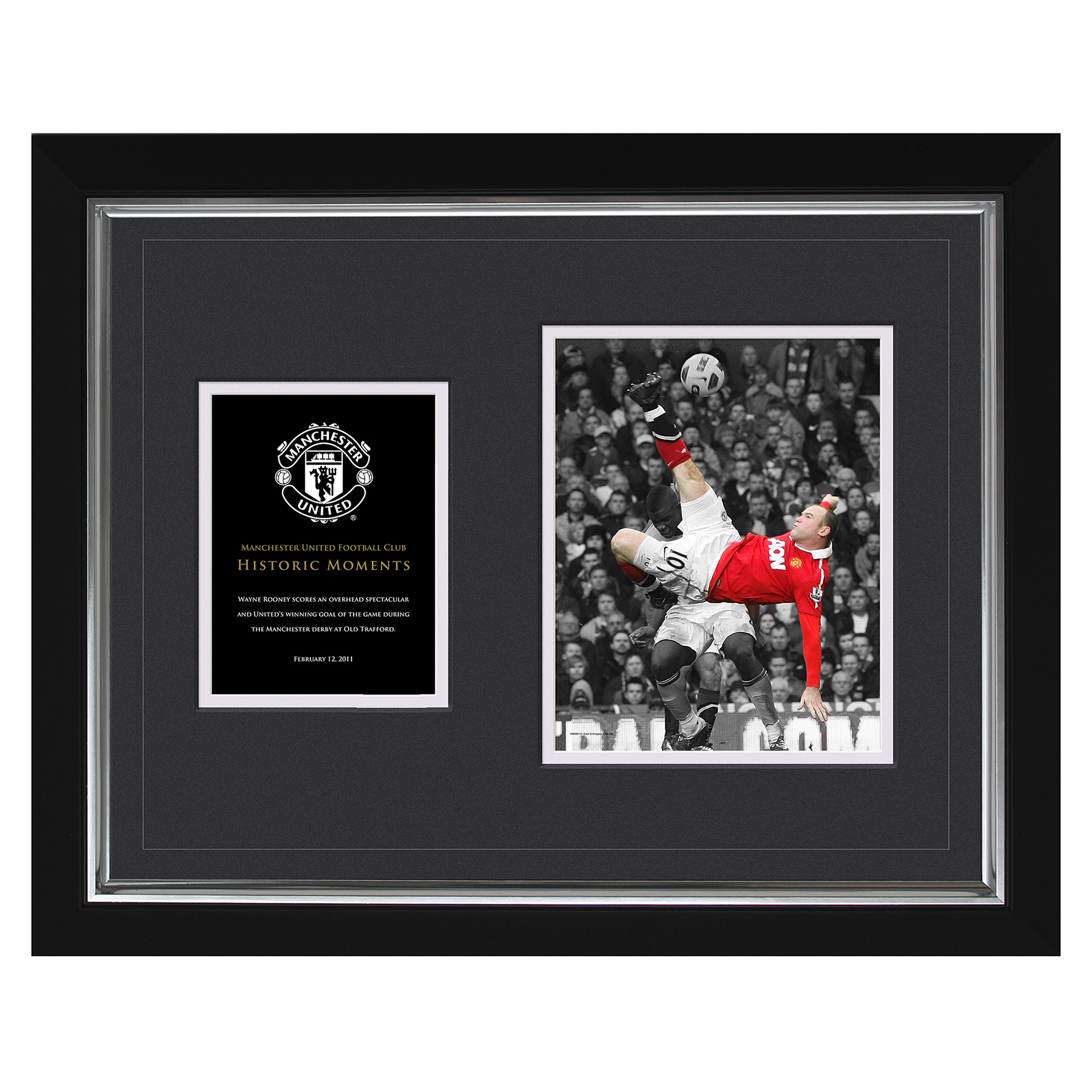 Manchester United Historic Moments - Rooney Overhead Kick Framed Print - 20 x 16