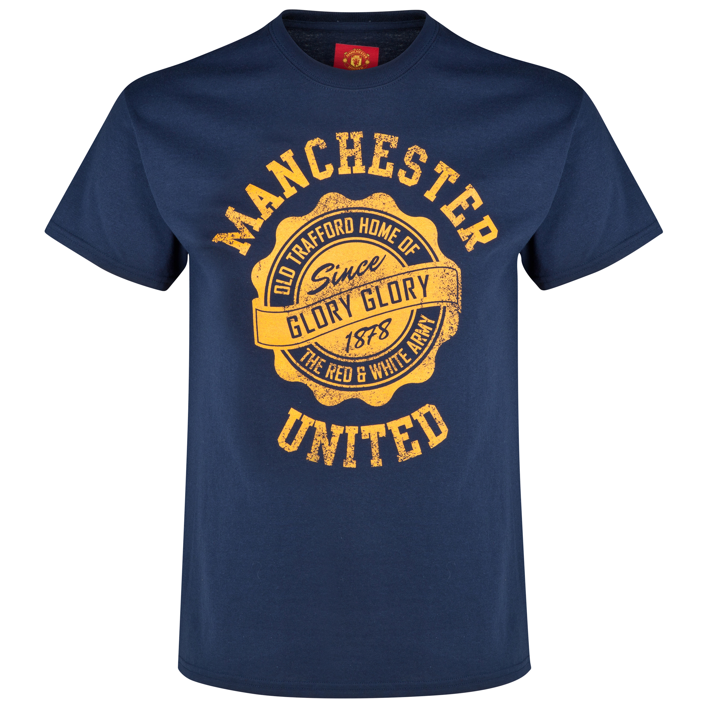 Manchester United Distressed T-Shirt Navy - Mens