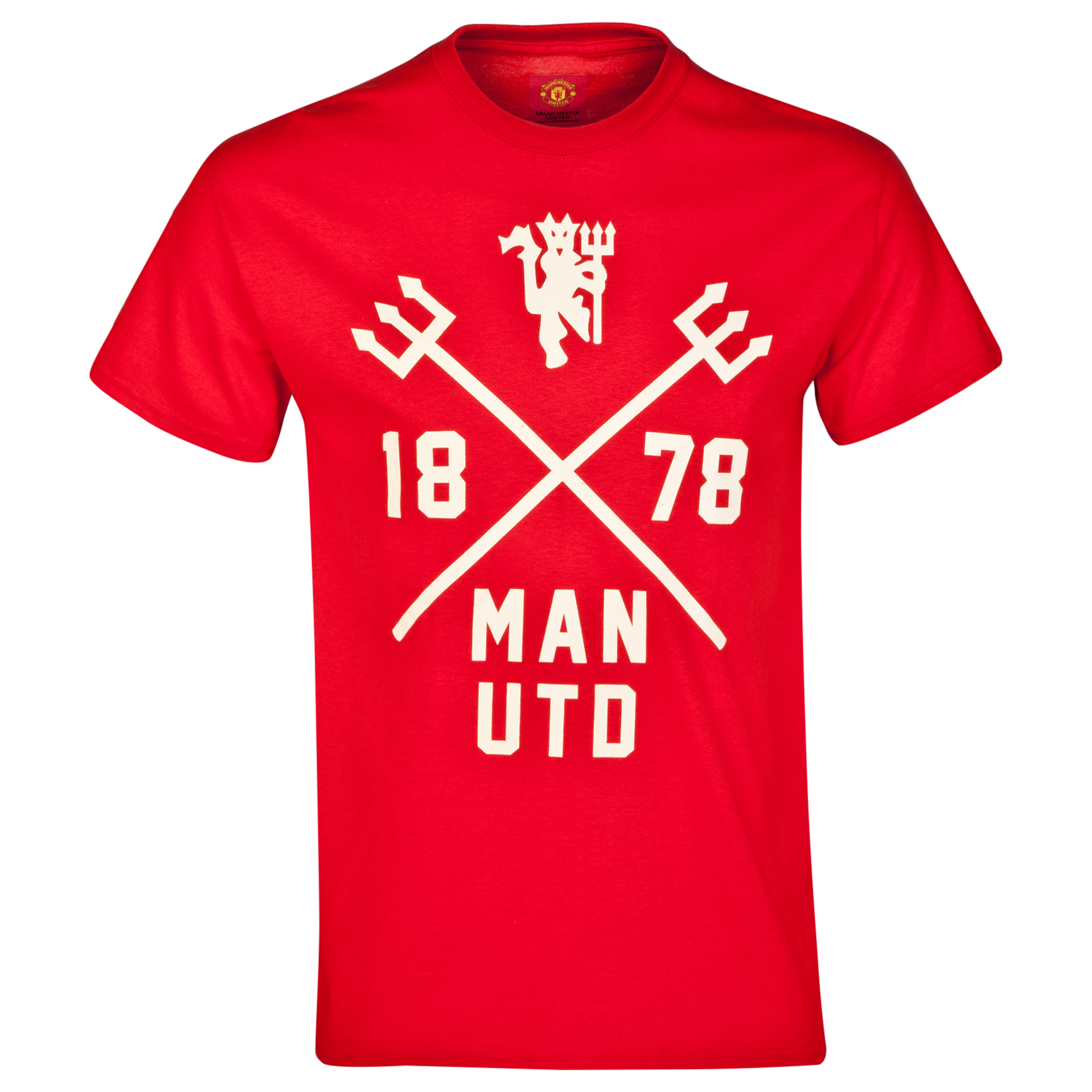 Manchester United Trident T-Shirt - Red - Mens