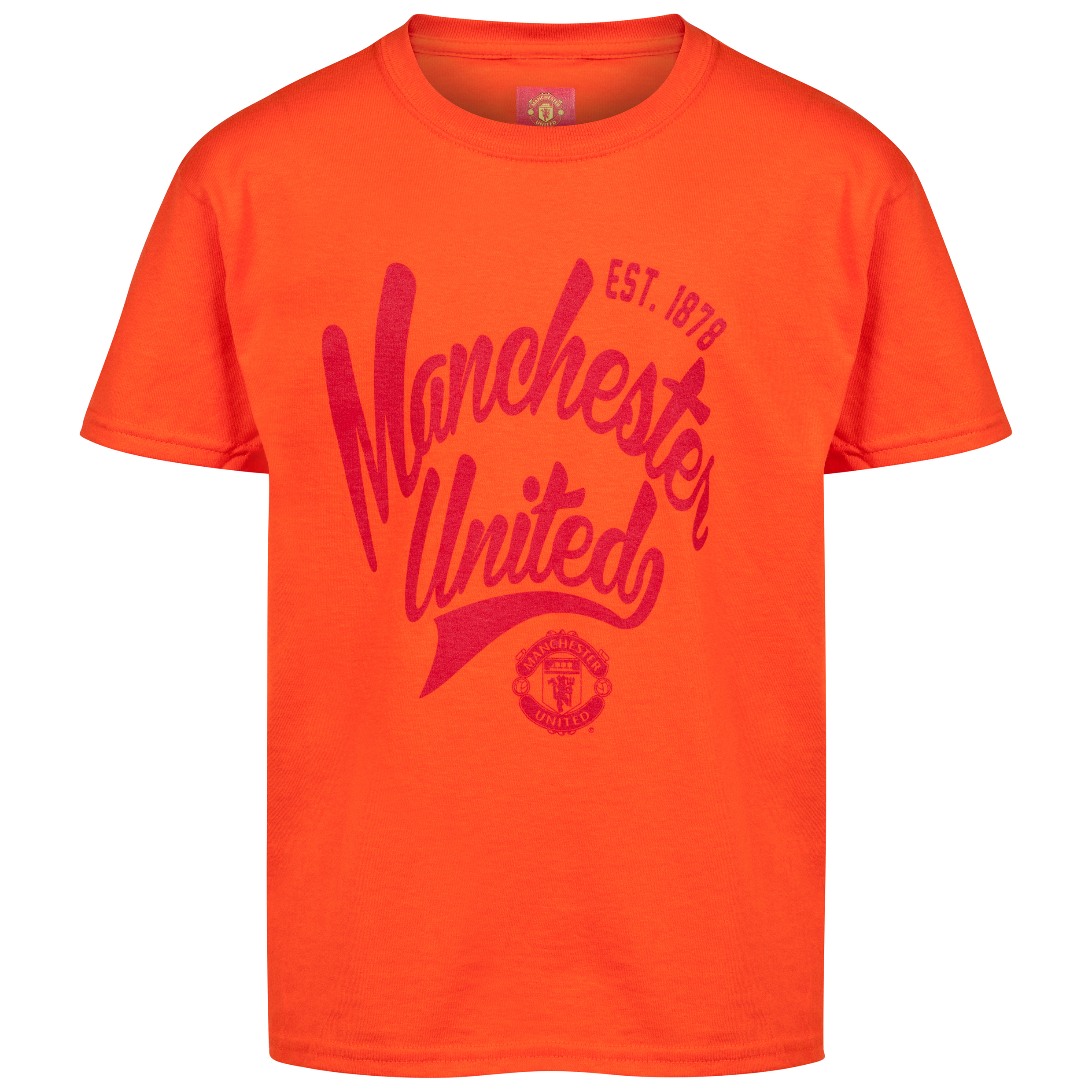 Manchester United Script T-Shirt - Orange - Boys
