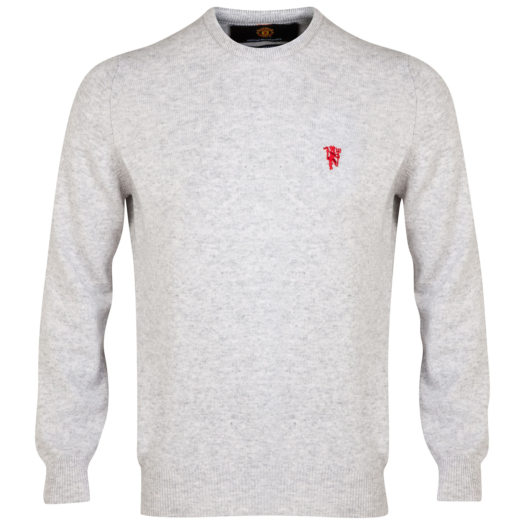 Manchester United Lambswool Crew Neck Sweater - Pearl Grey - Mens
