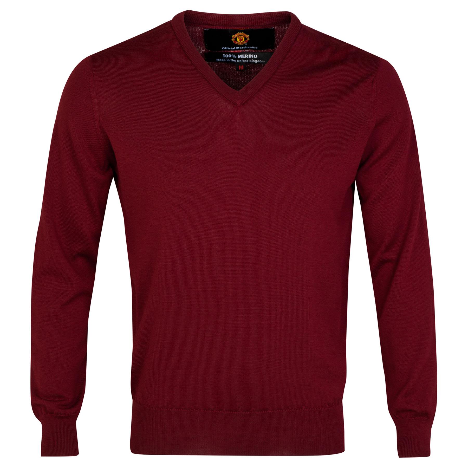 Manchester United Merino V Neck Sweater - Bordeaux - Mens