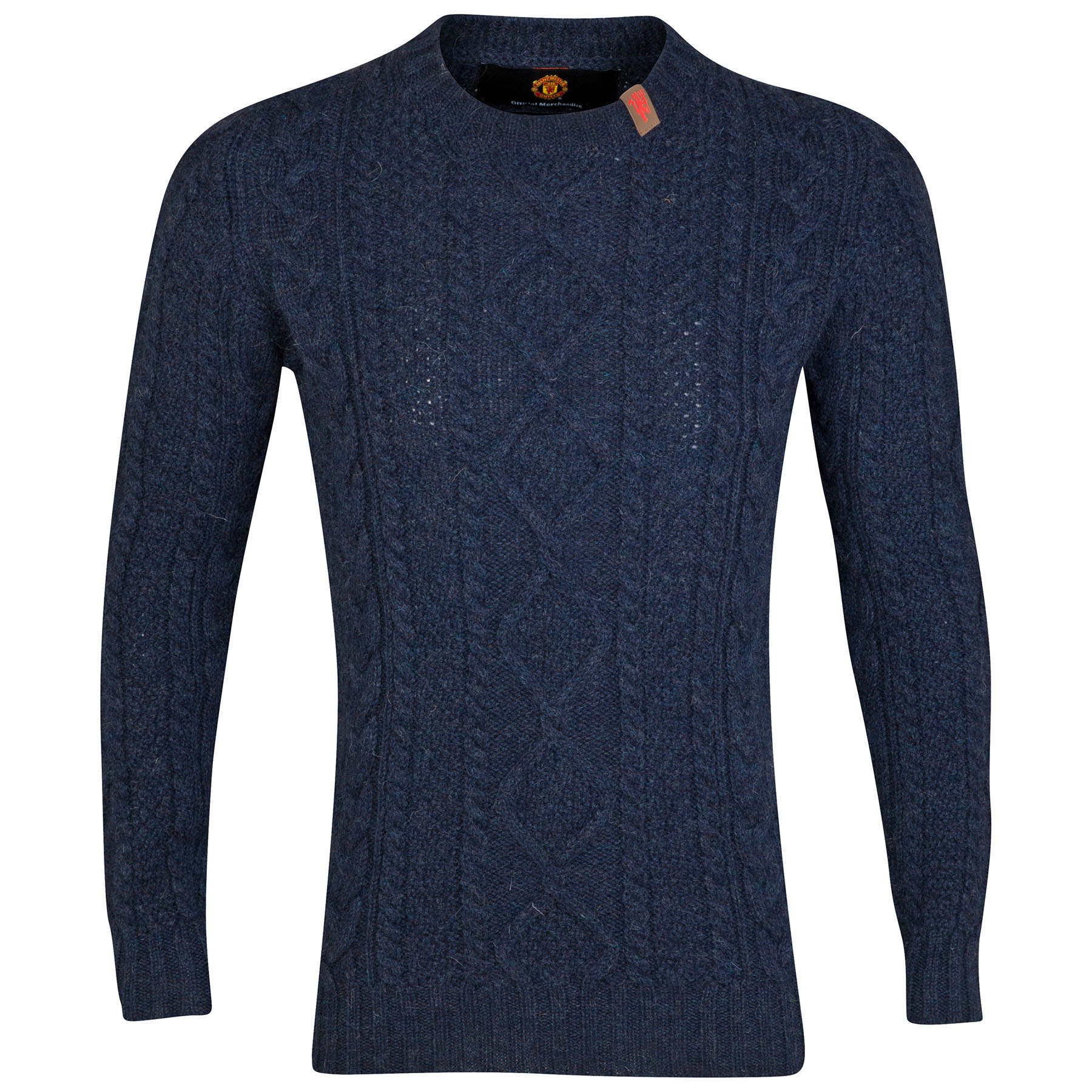 Manchester United British Wool Cable Knit Sweater - Denim - Mens