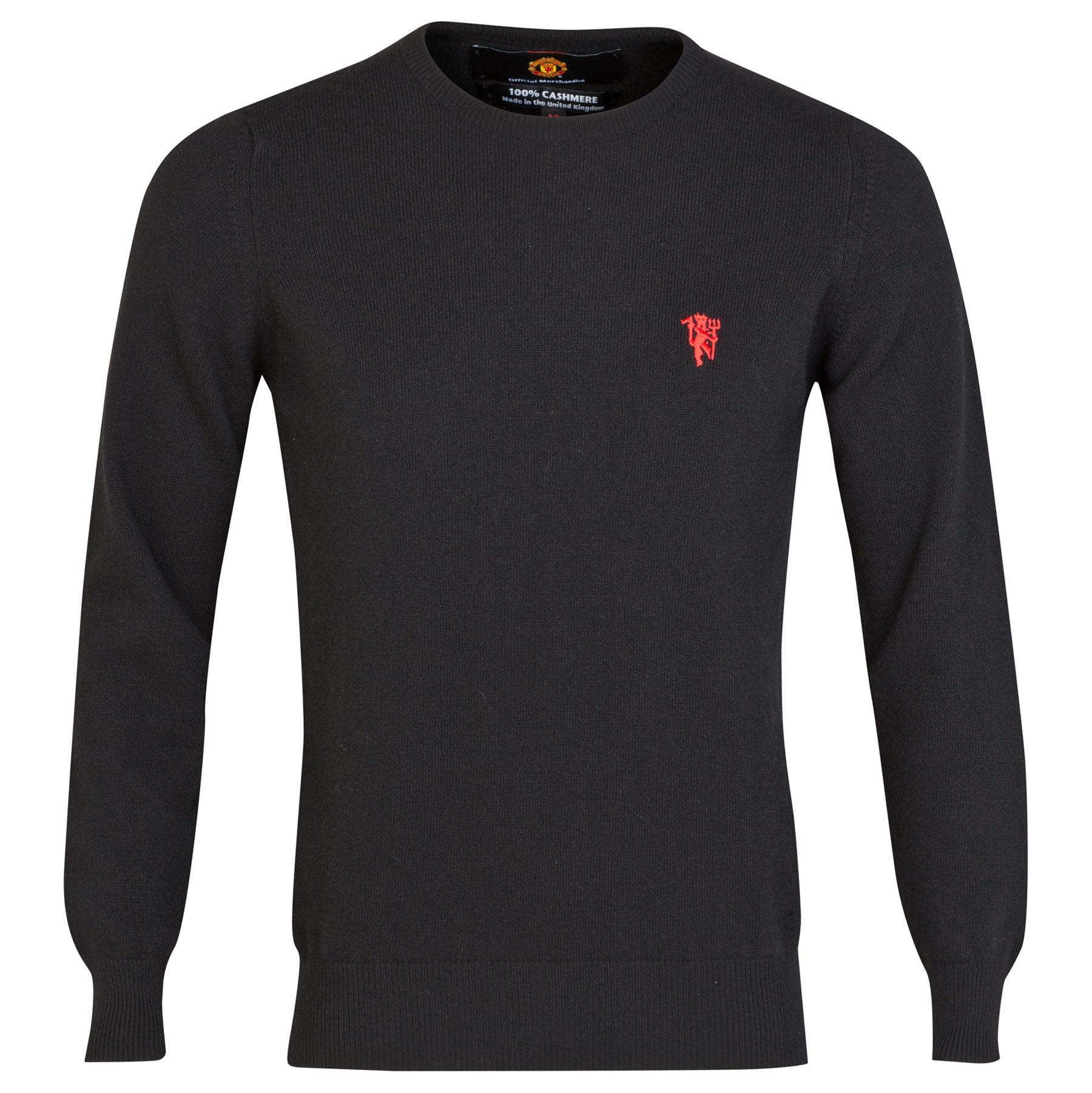 Manchester United Cashmere Crew Neck Sweater - Black - Mens