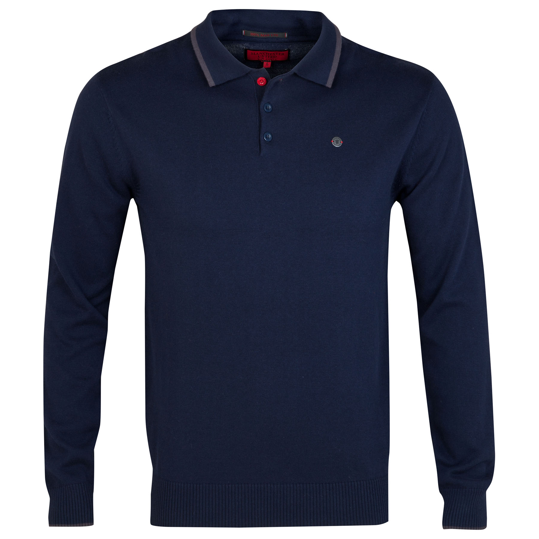 Manchester United Red Label Tipped Collar Knitted Polo Shirt - Navy - Mens