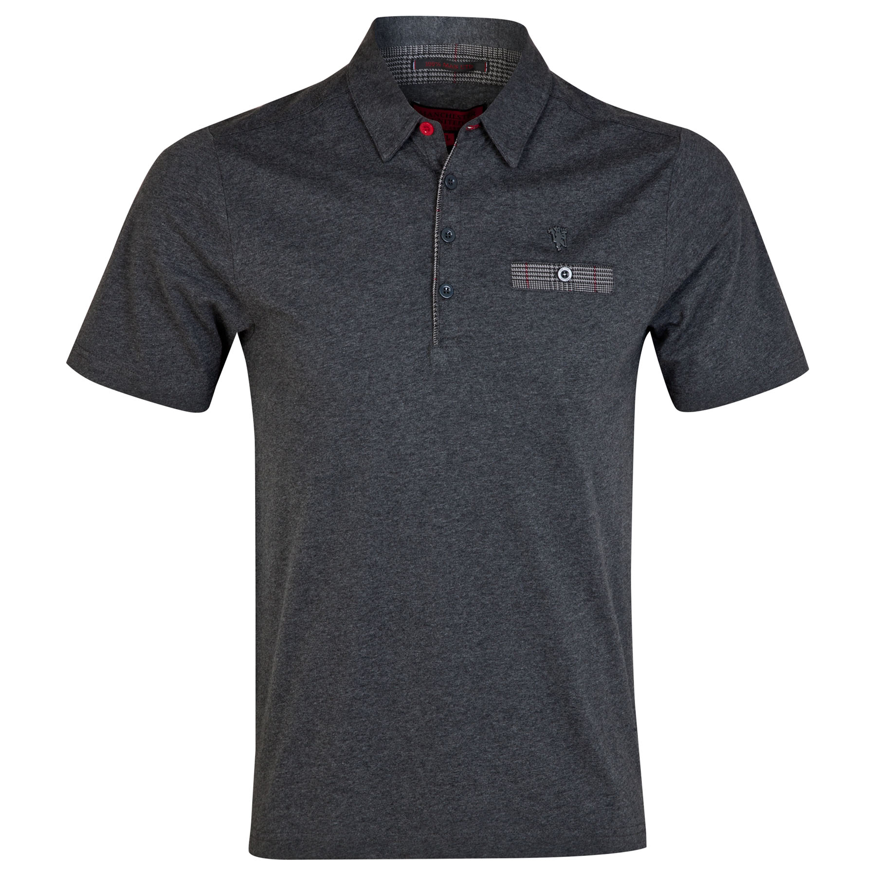 Manchester United Red Label Pocket Polo Shirt - Charcoal - Mens