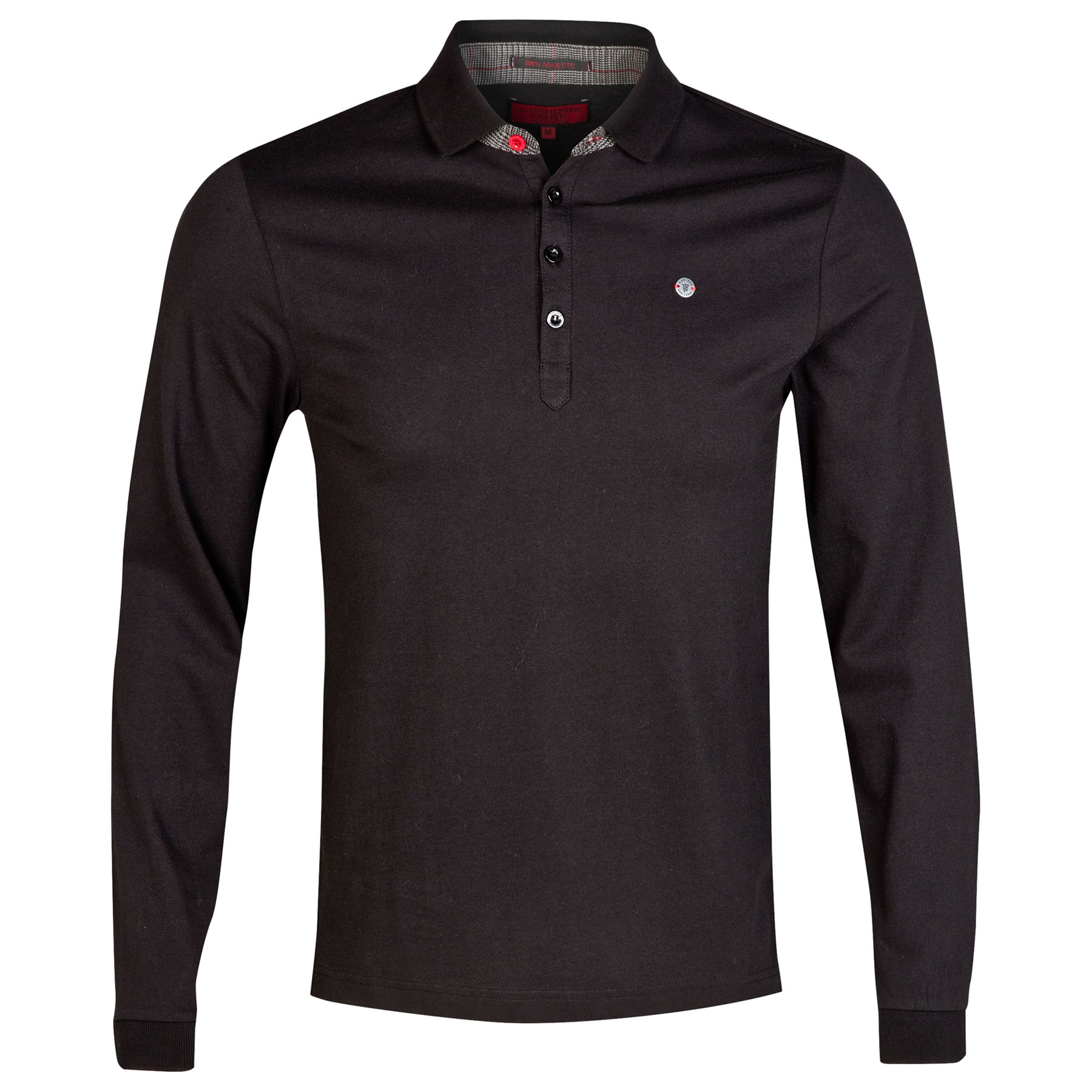 Manchester United Red Label Long Sleeve Polo Shirt - Black - Mens
