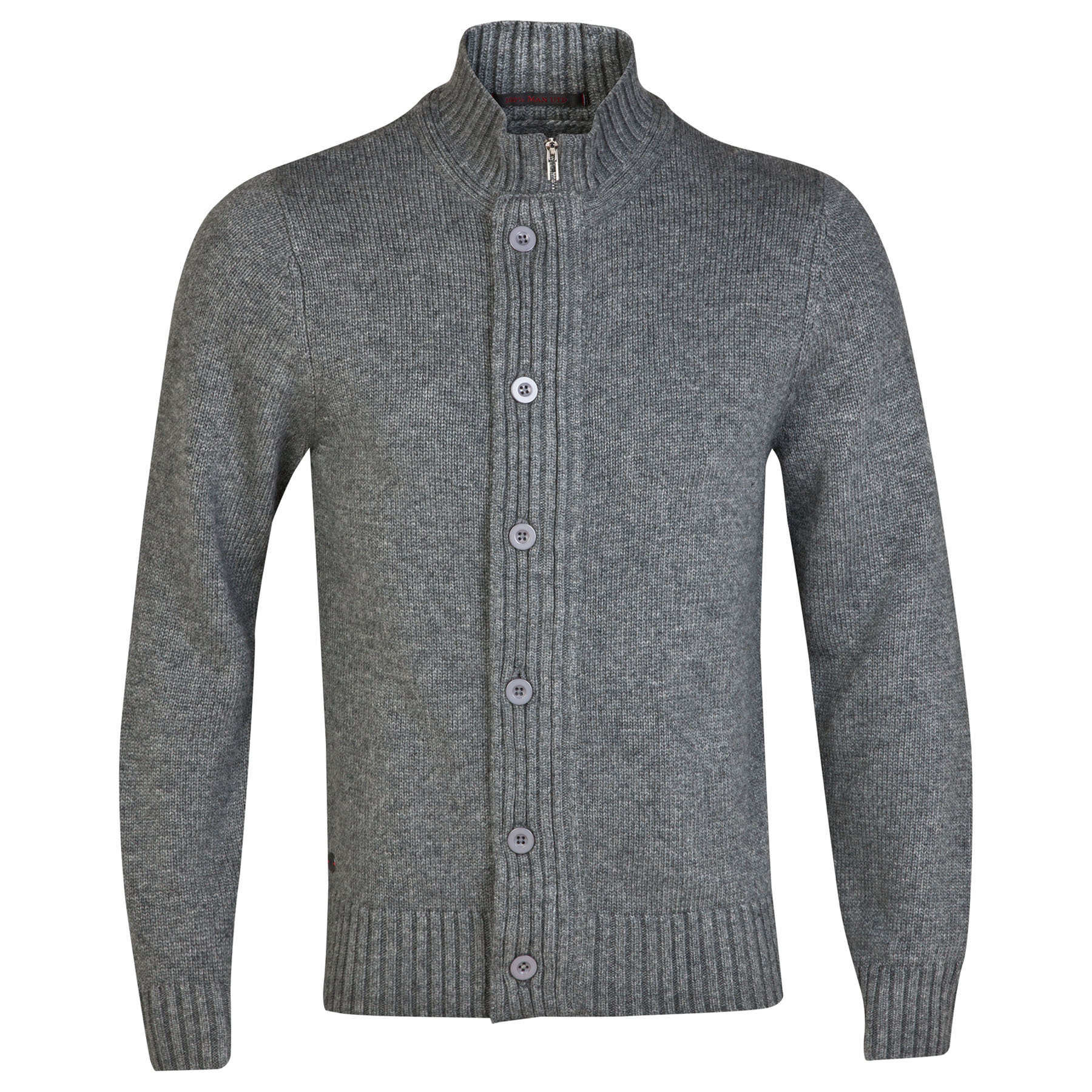 Manchester United Red LabelChunky Knitted Cardigan - Charcoal - Mens