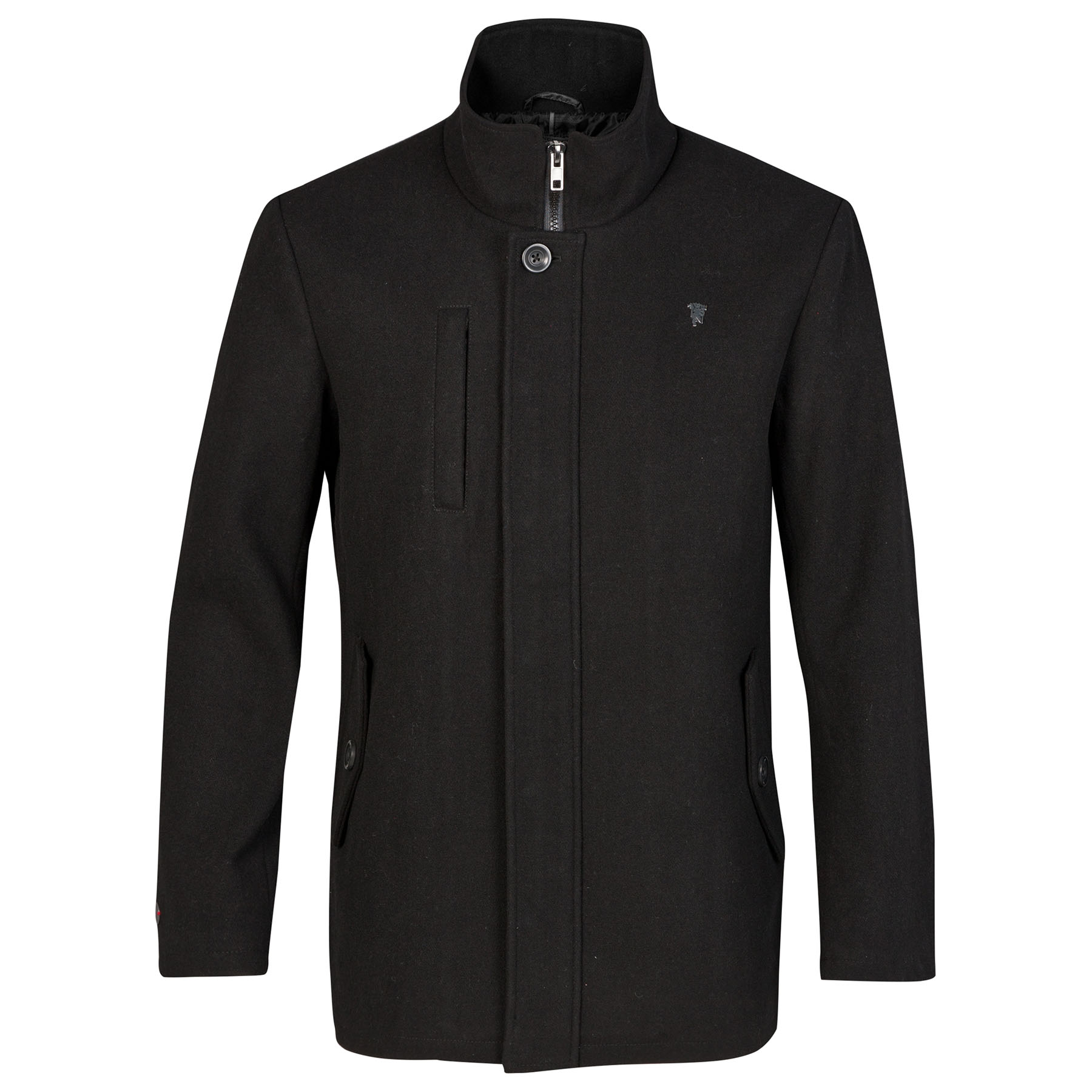 Manchester United Red Label Melton Wool Coat - Black - Mens