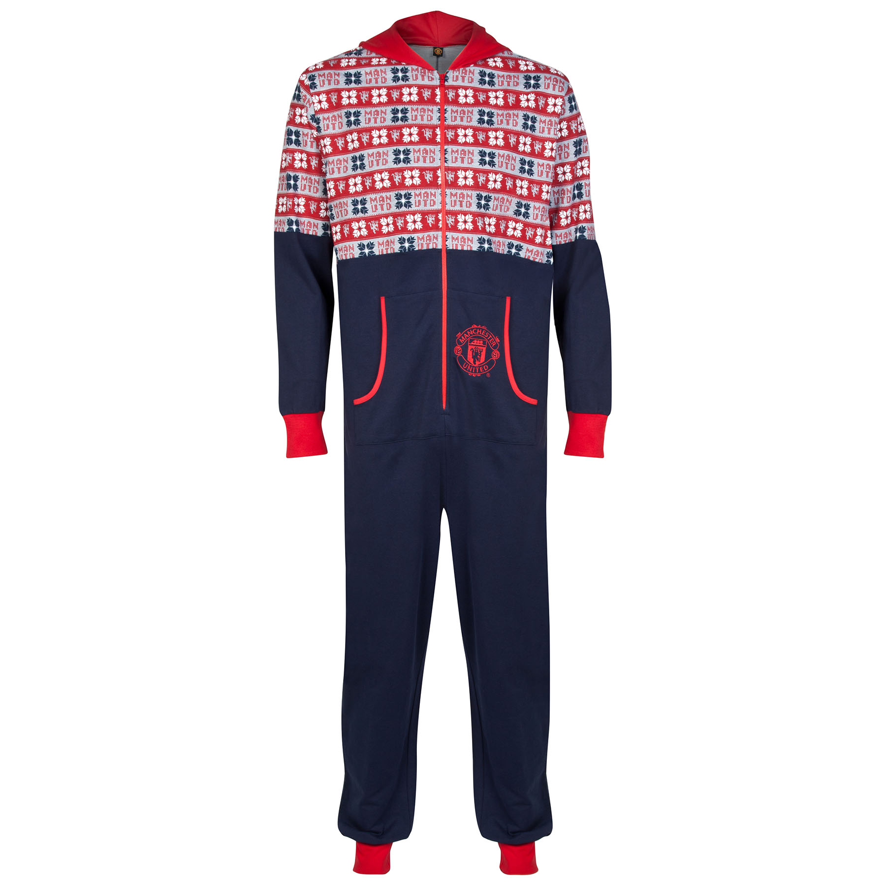 Manchester United Fairisle Hooded Onesie - Navy/Red - Boys