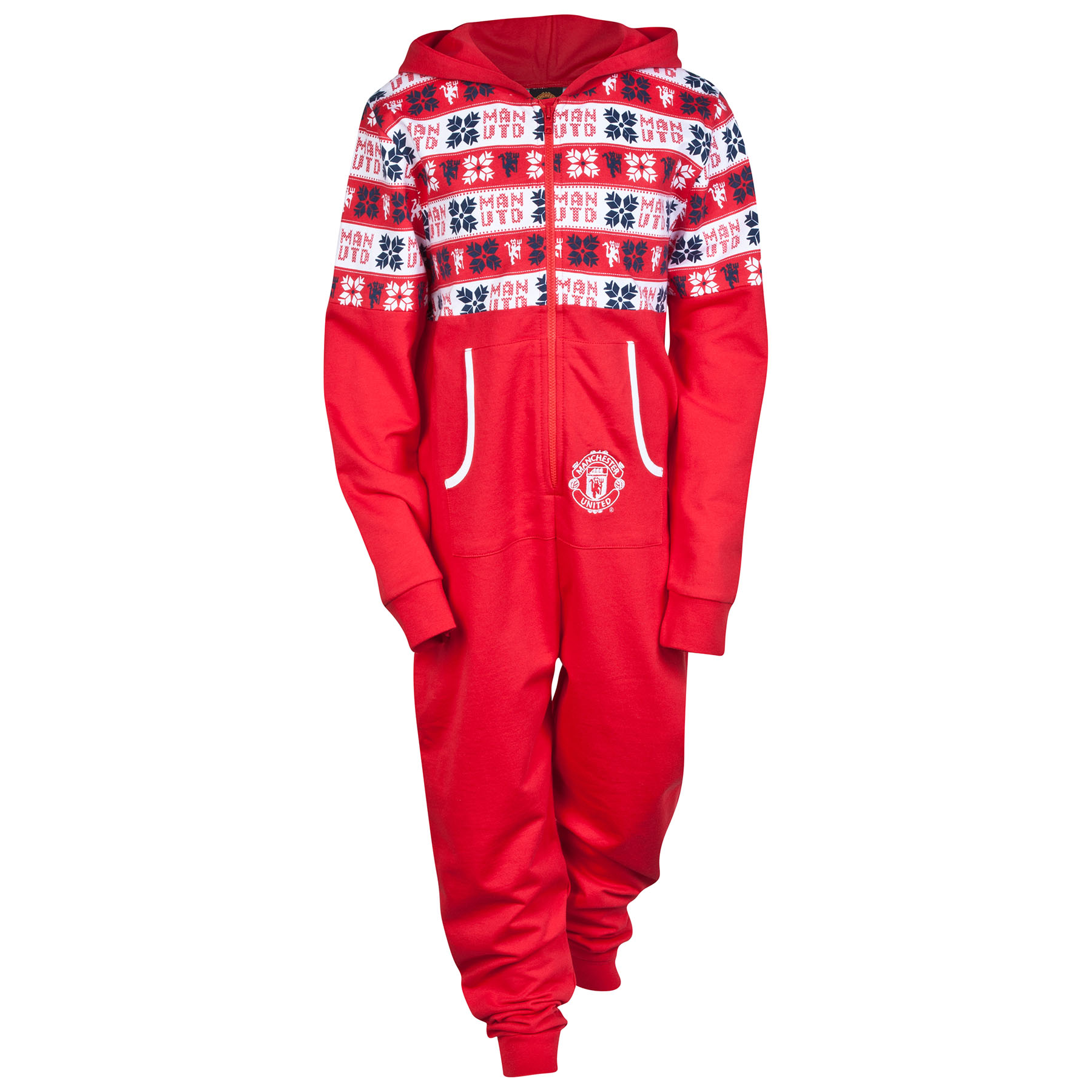Manchester United Fairisle Hooded Onesie - Red - Girls