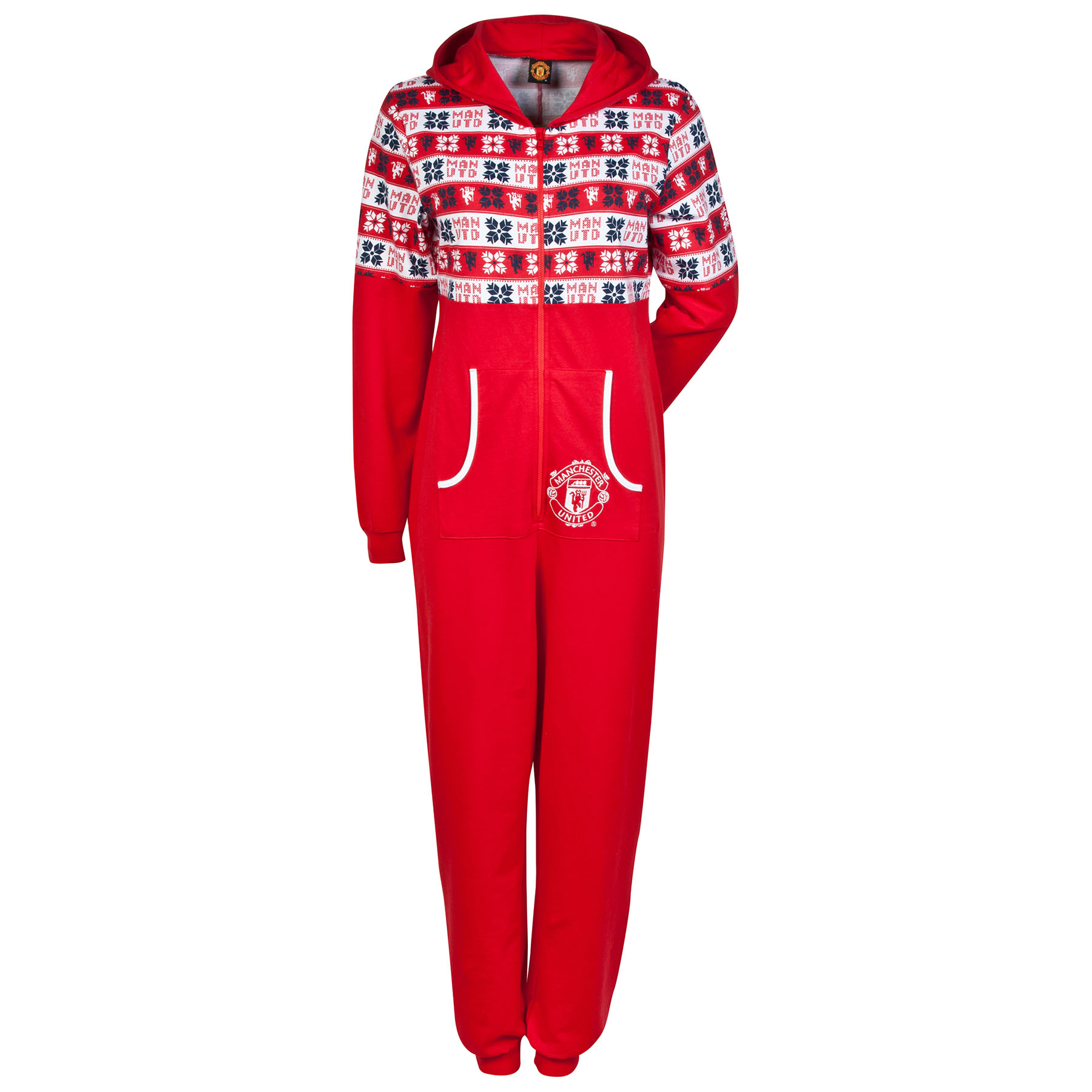 Manchester United Fairisle Hooded Onesie - Red - Womens