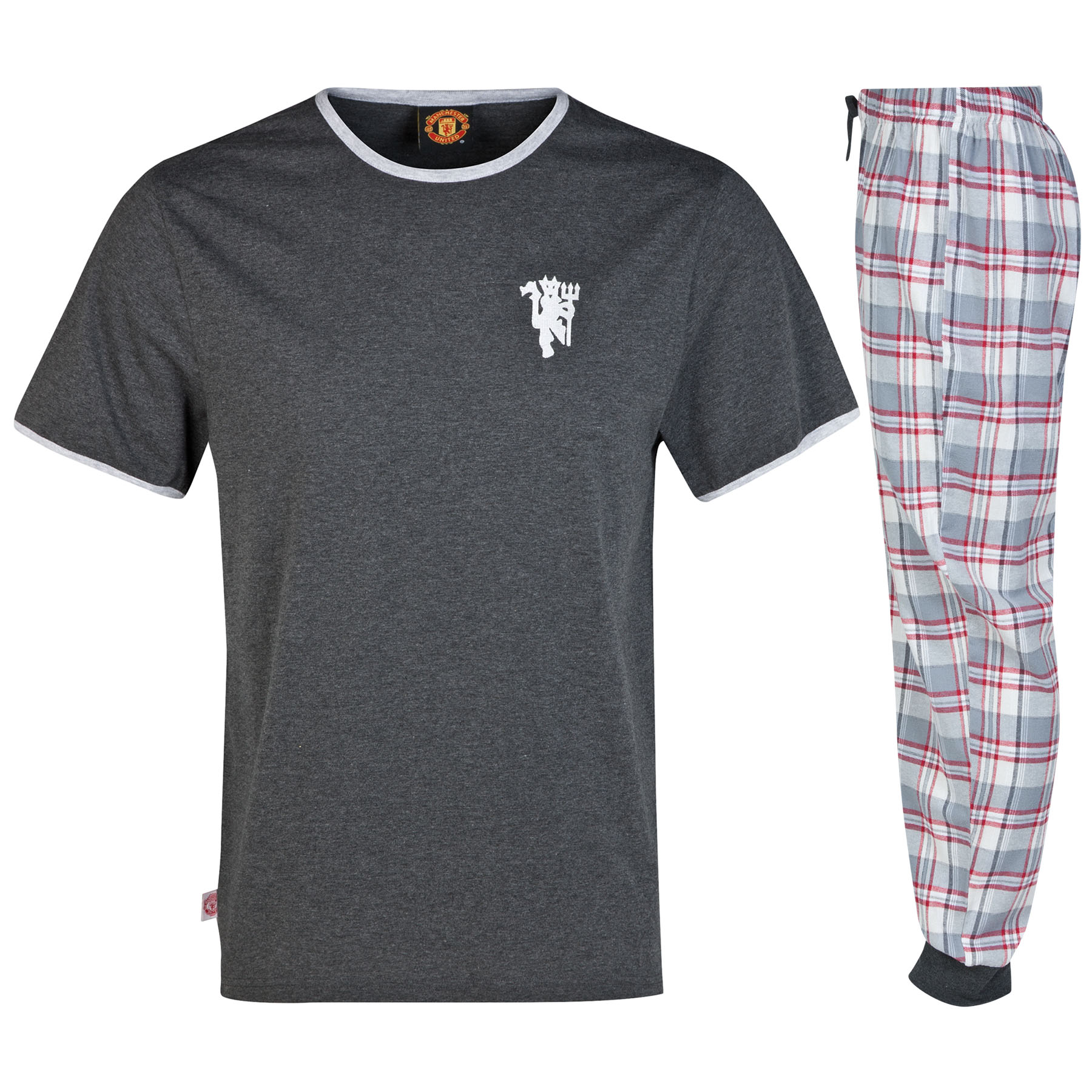 Manchester United Cuffed Bottom Pyjamas - Charcoal Marl - Mens