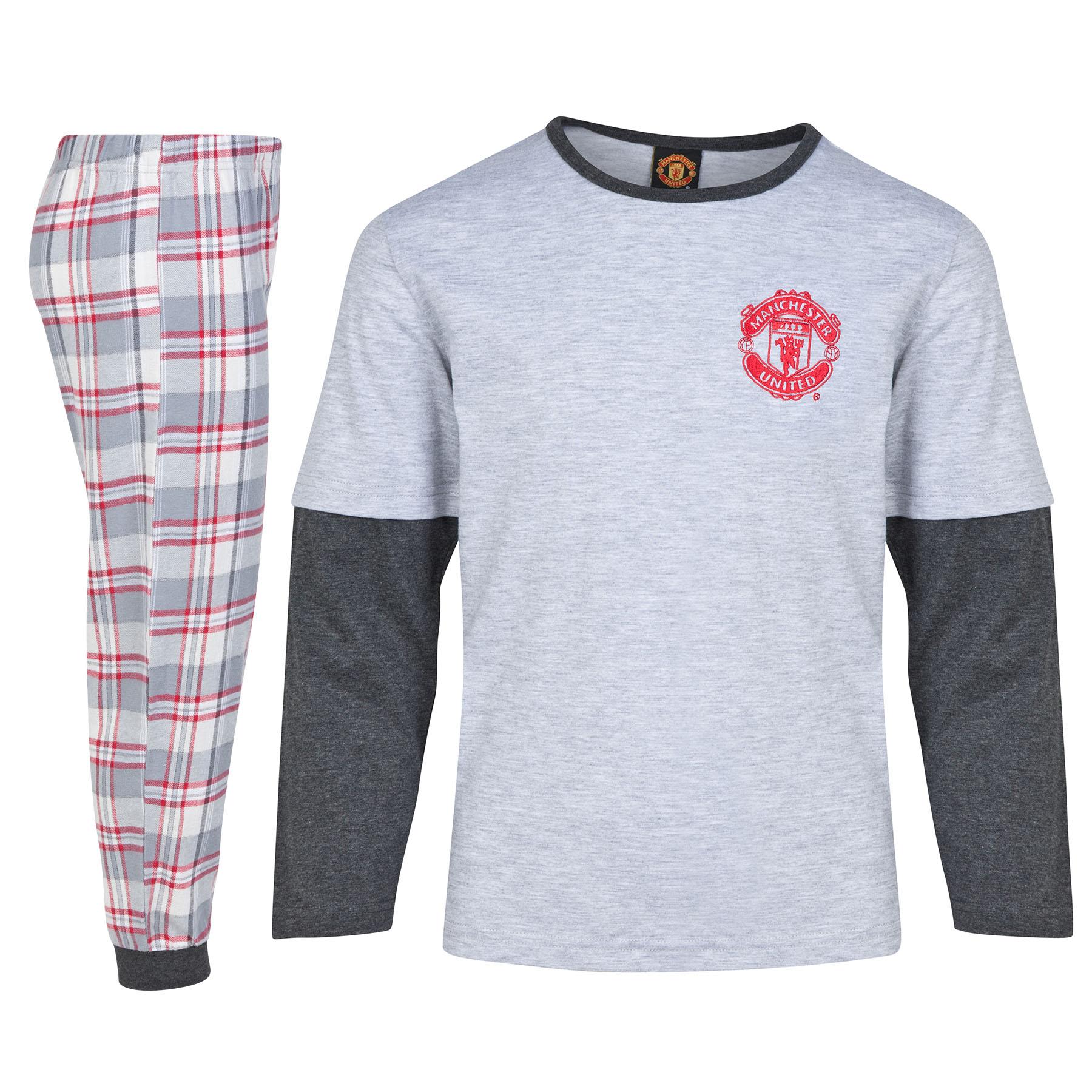 Manchester United Cuffed Bottom Pyjamas - Grey Marl - Older Boys