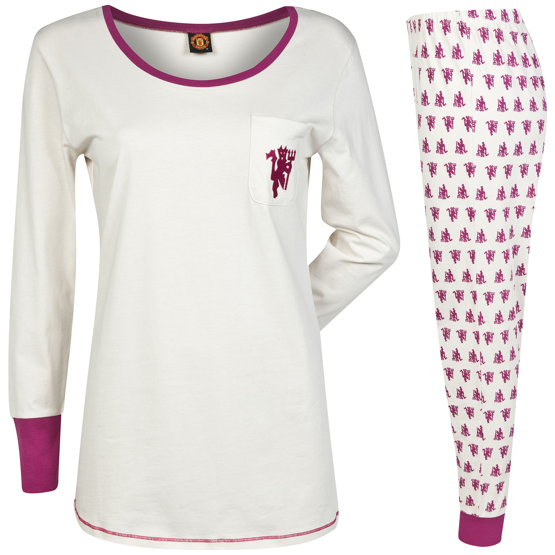 Manchester United Devil Print Pyjamas - Cream/Plum - Womens