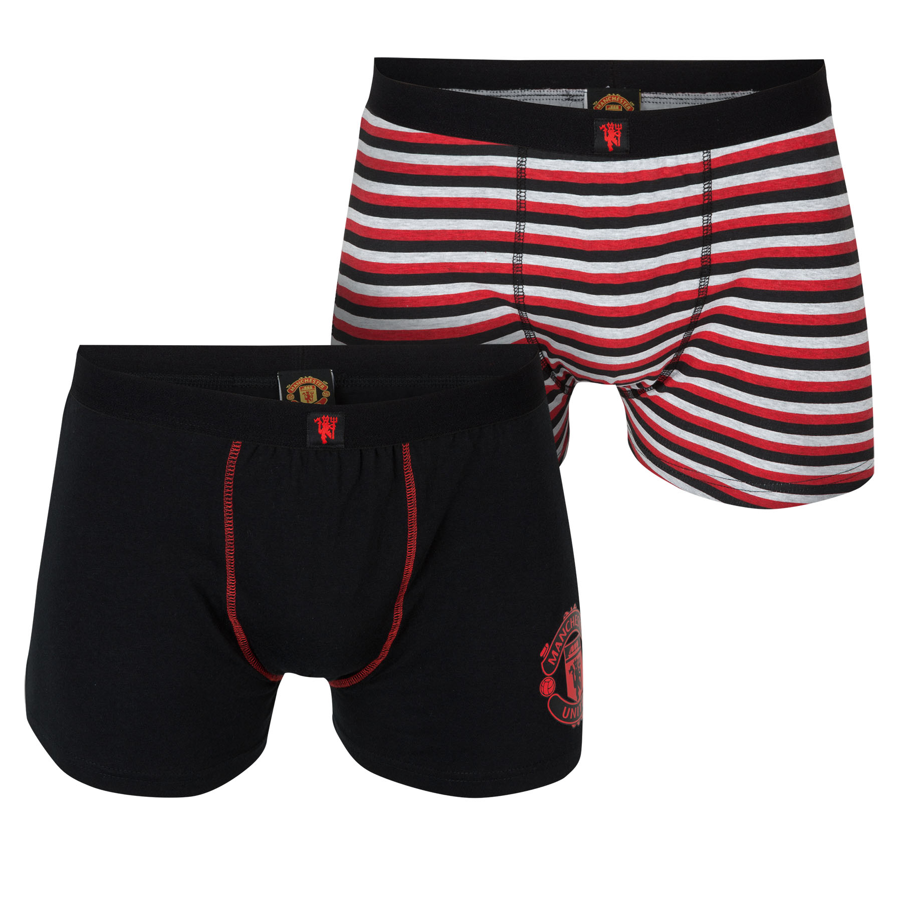 Manchester United 2 PK Boxer Shorts - Black/Red - Mens