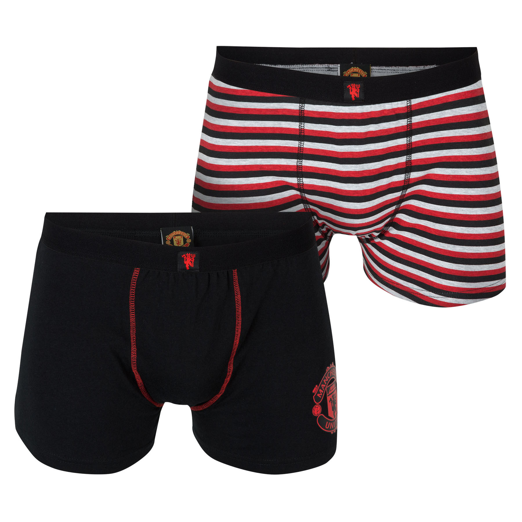 Manchester United 2 PK Boxer Shorts - Black/Red - Boys