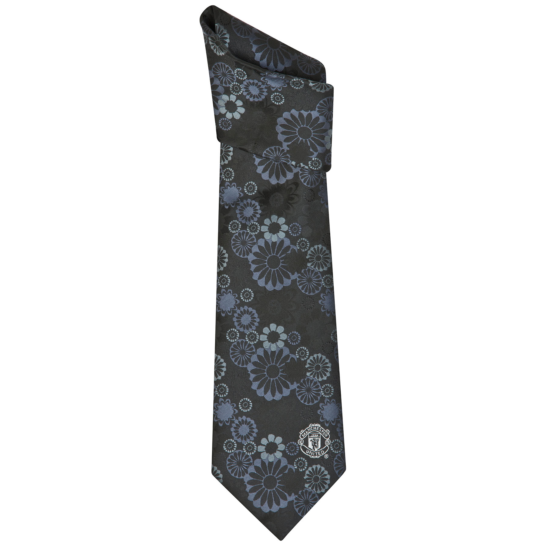 Manchester United Crest Tonal Floral Tie - Polyester