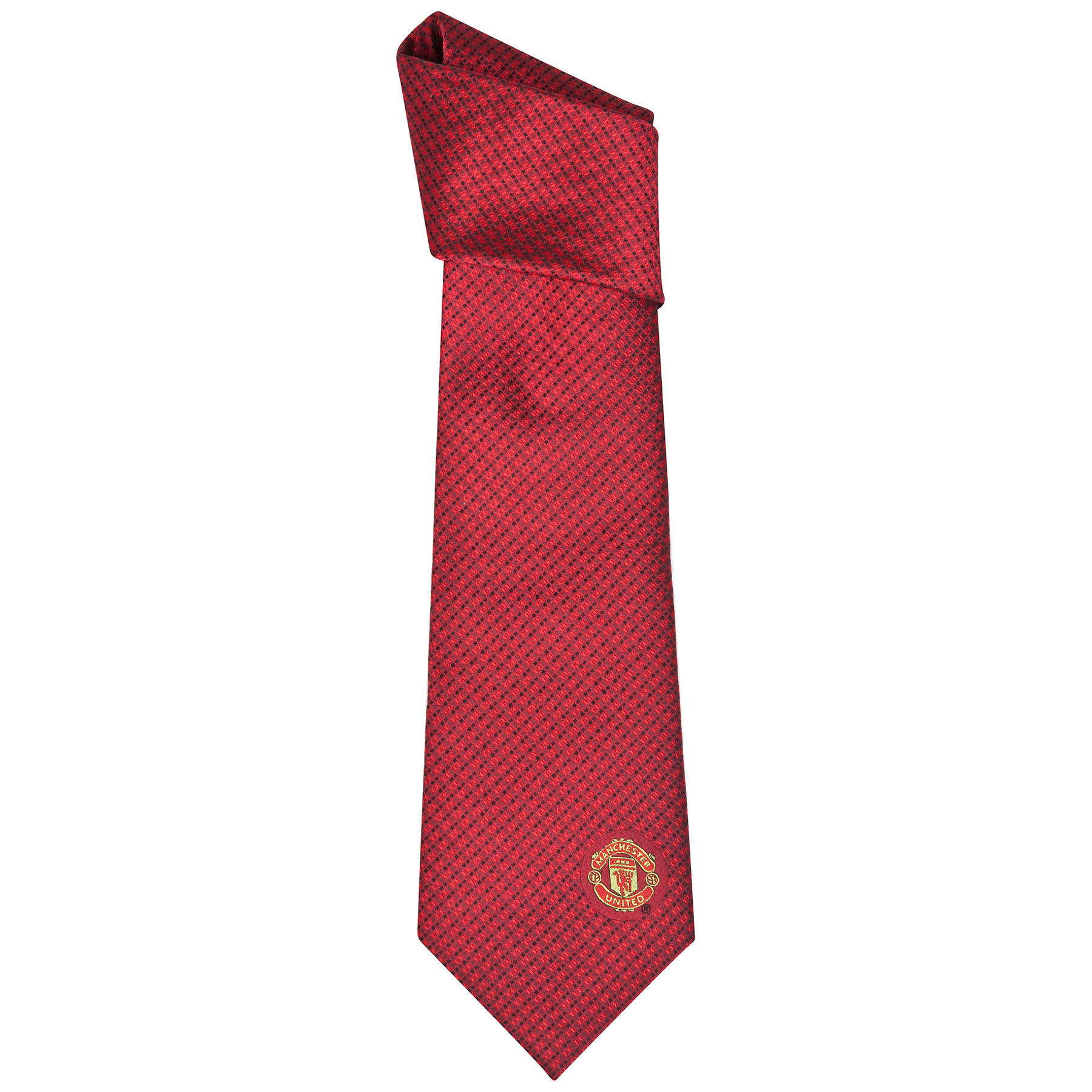 Manchester United Crest Neat Square Tie - Red - Silk