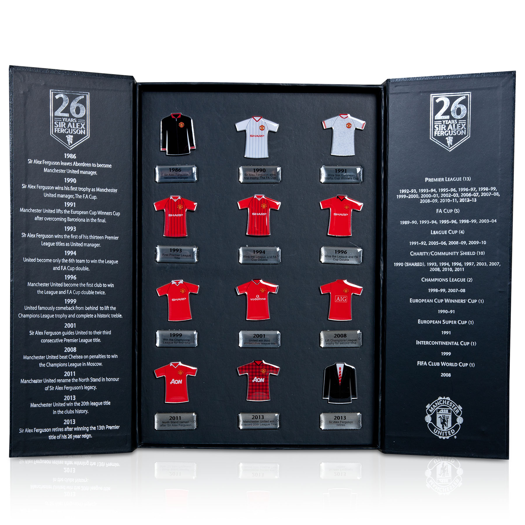 Manchester United Sir Alex Ferguson Limited Edition Shirt Badge Collectors Set