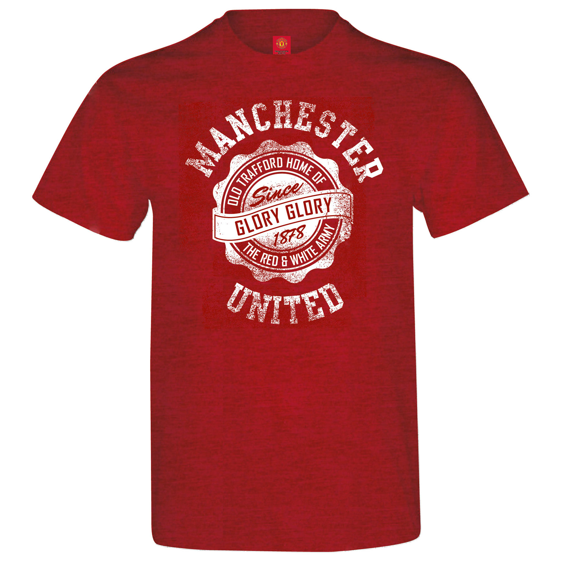 Manchester United Distressed T-Shirt - Antique Cherry Red - Mens