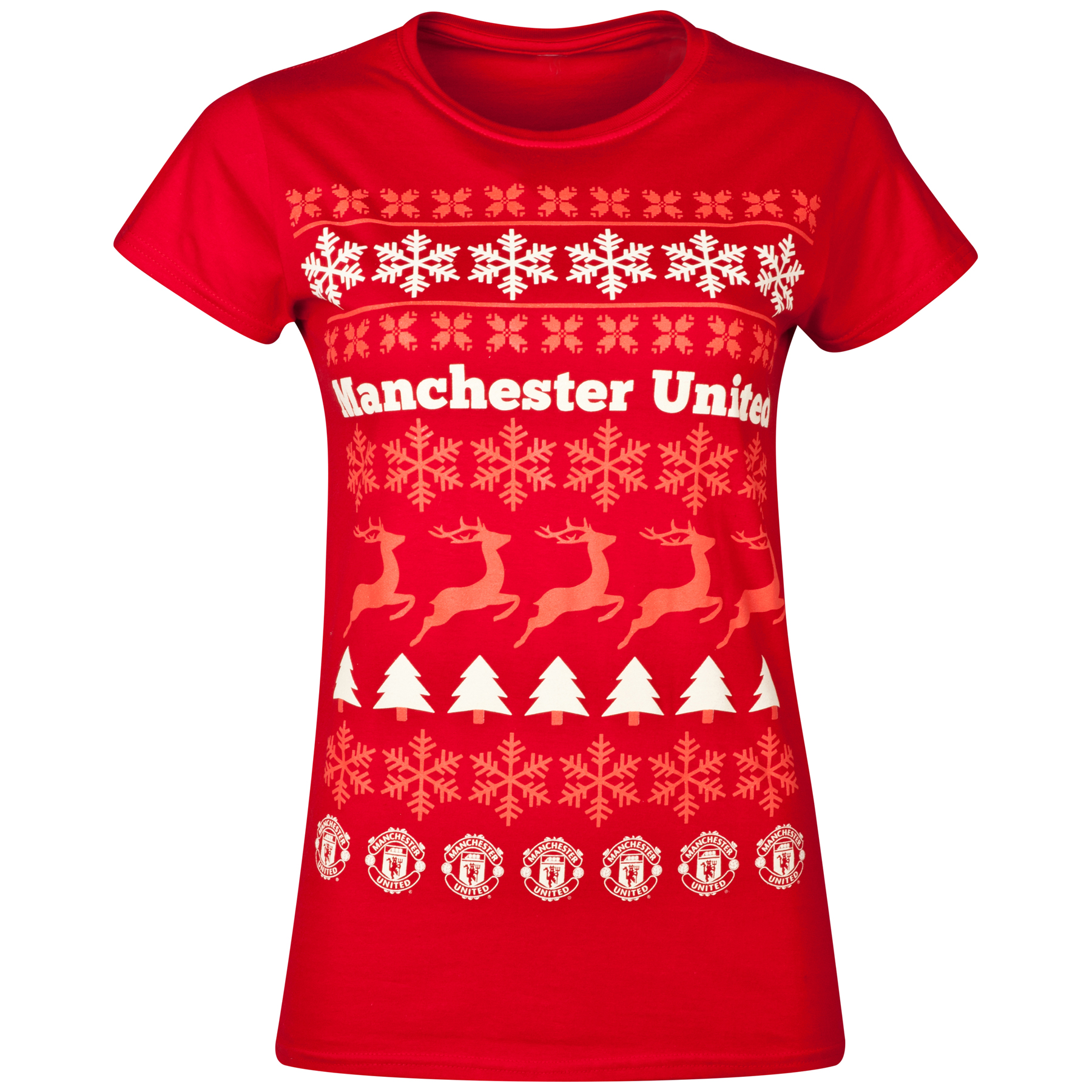 Manchester United Festive T-Shirt - Cherry Red - Womens